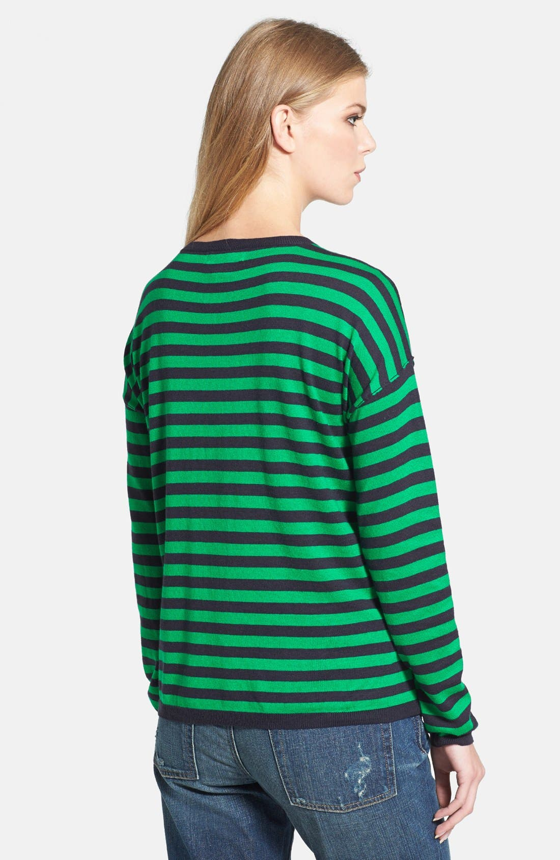 Alternate Image 2  - MICHAEL Michael Kors Faux Leather Pocket Stripe Sweater