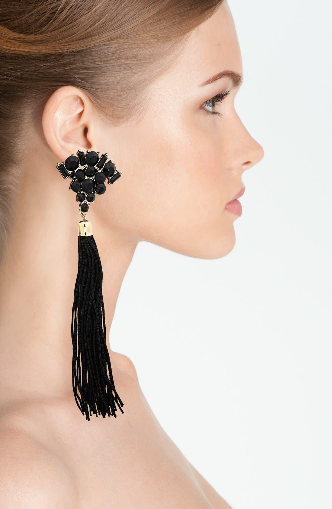 Alternate Image 2  - Topshop Tassel & Stone Earrings
