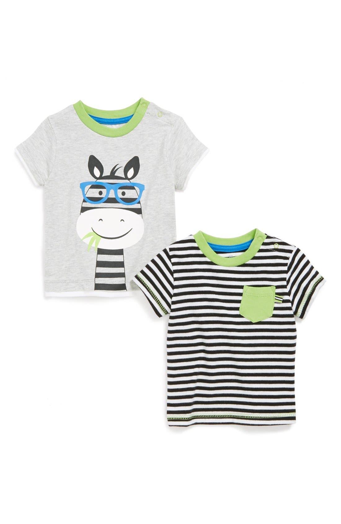 Alternate Image 1 Selected - Little Me 'Zebra' T-Shirts (2-Pack) (Baby Boys)