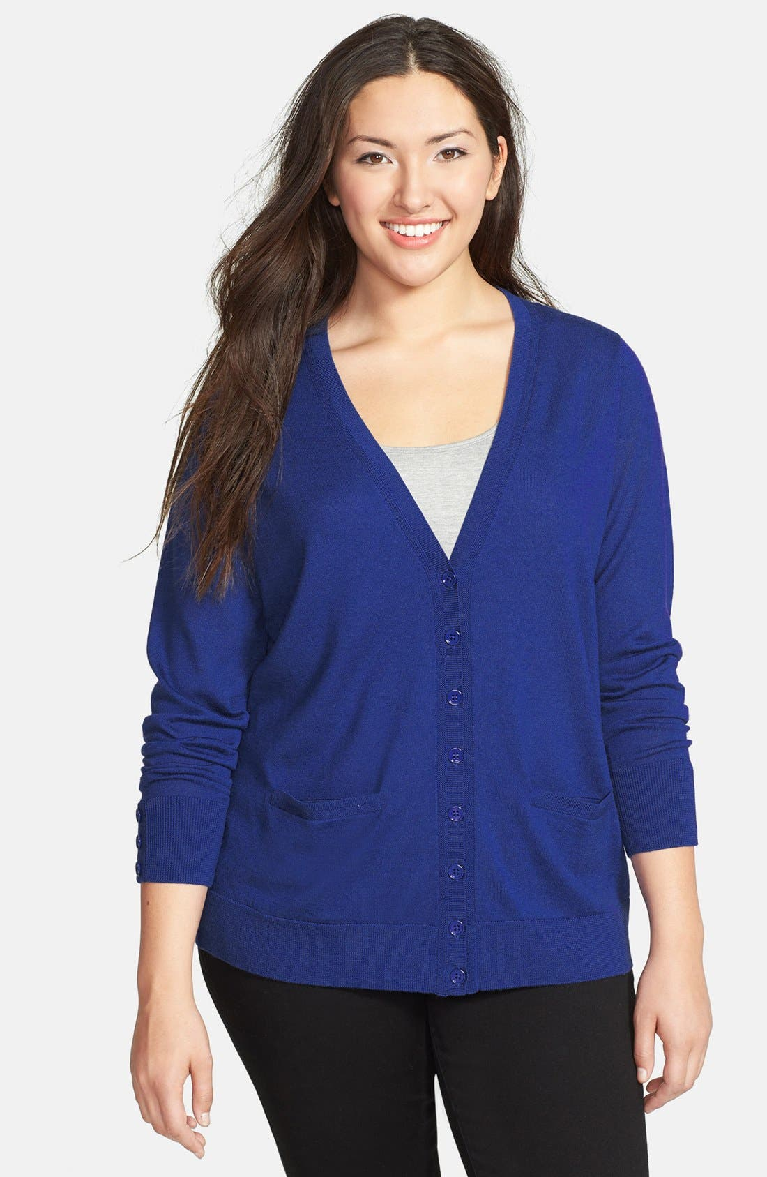 Alternate Image 1 Selected - Sejour Merino Wool Cardigan (Plus Size)