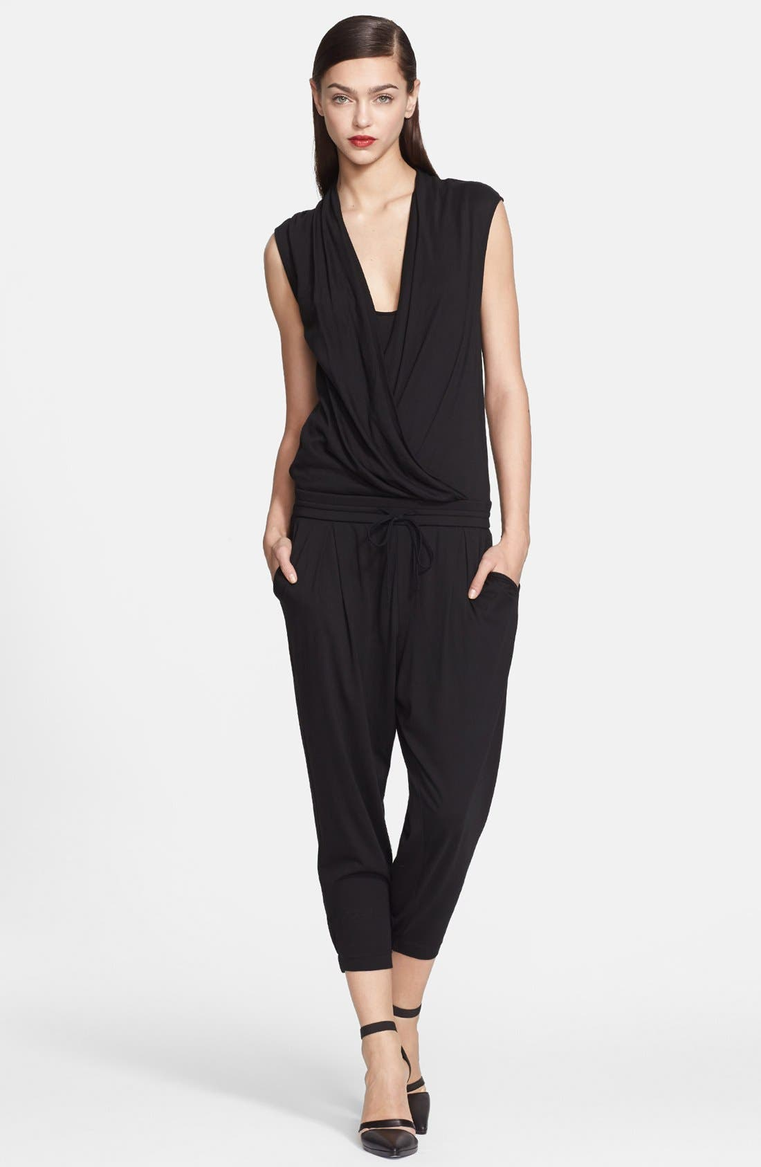 Alternate Image 1 Selected - Helmut Lang Wrap Top Jersey Jumpsuit