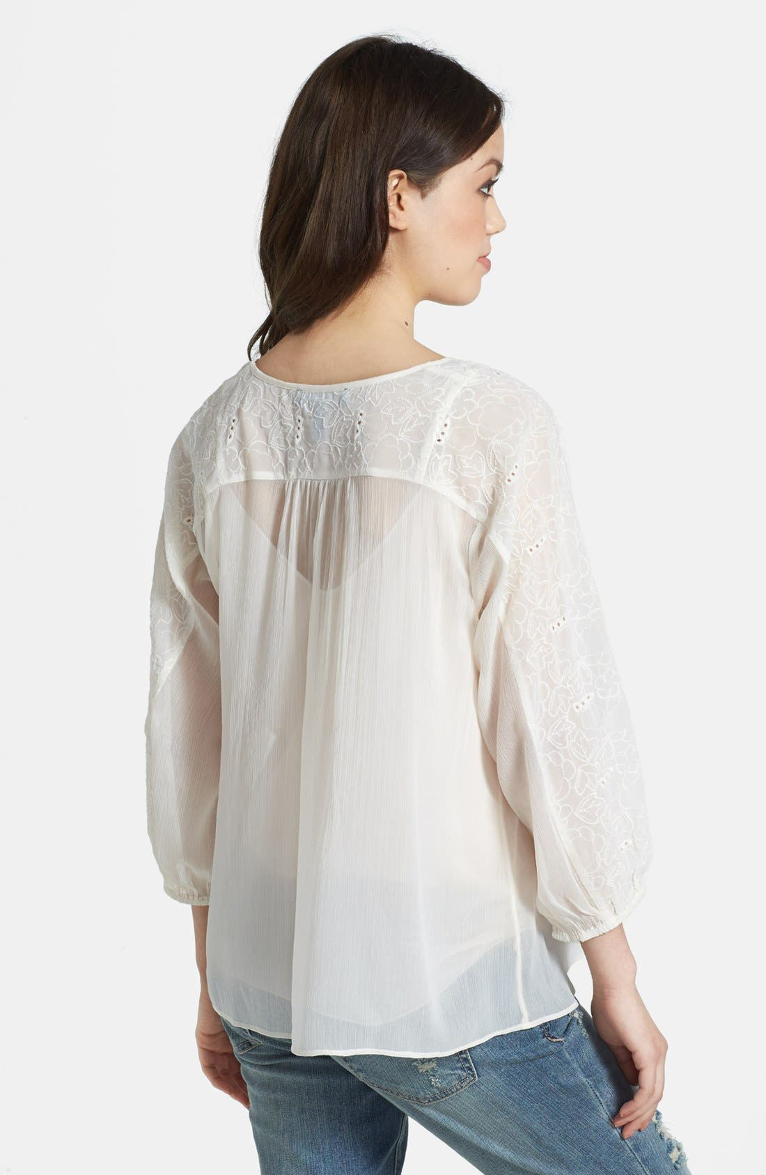 Alternate Image 2  - Jessica Simpson 'Symphony' Embroidered Peasant Blouse