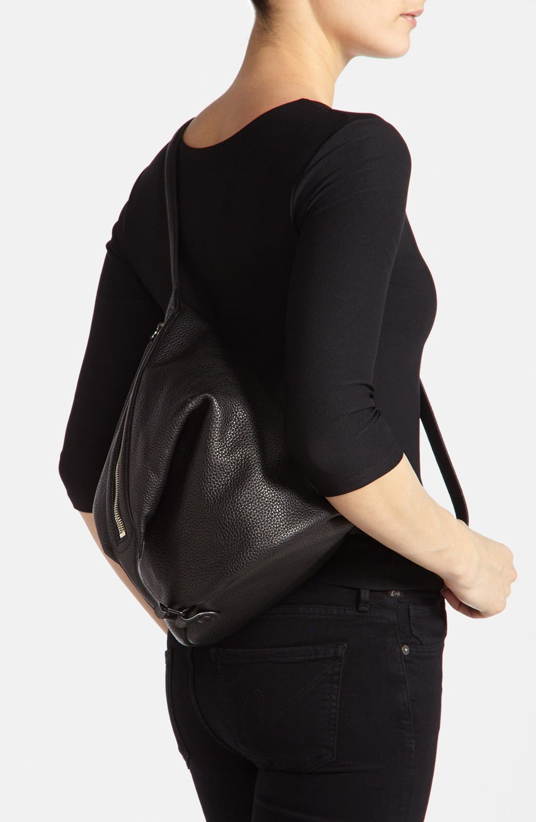 Alternate Image 5  - Kara 'Dry - Small' Convertible Pebbled Leather Bucket Bag, Small