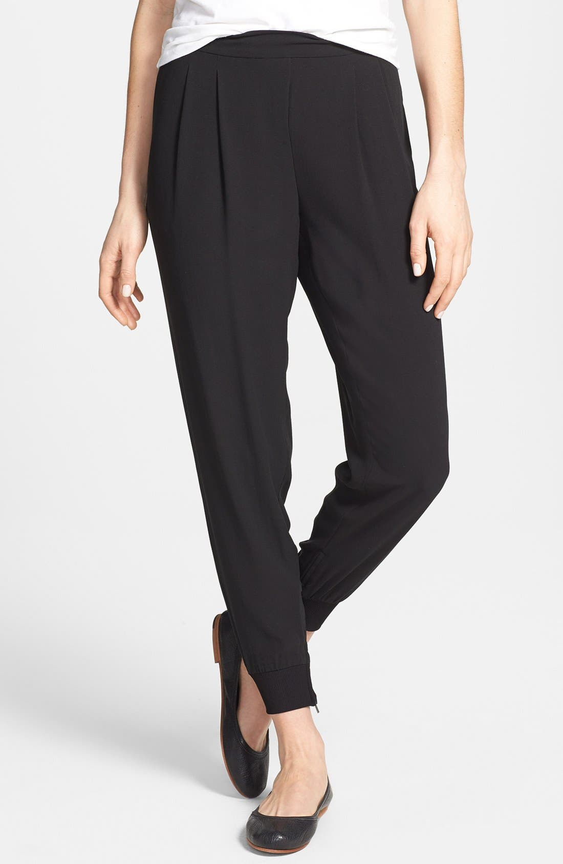 Main Image - Eileen Fisher Cuffed Silk Ankle Pants (Regular & Petite)(Online Only)