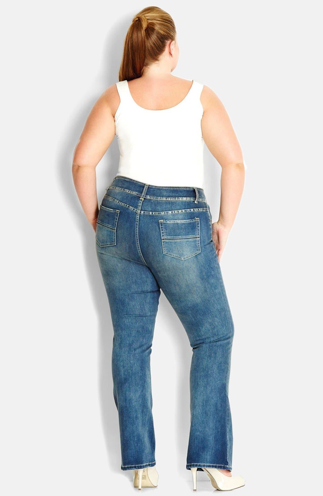 Alternate Image 2  - City Chic Soft Wash Bootcut Jeans (Mid Denim) (Plus Size)