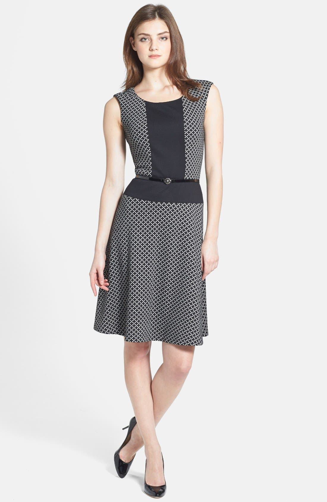 Main Image - Anne Klein Diamond Ponte Flare Dress
