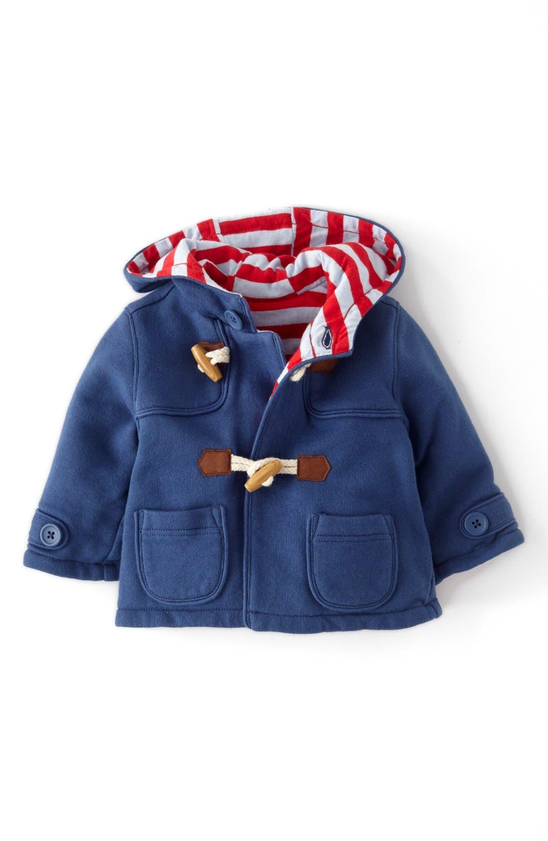 Main Image - Mini Boden Cotton Jersey Duffle Jacket (Baby Boys)