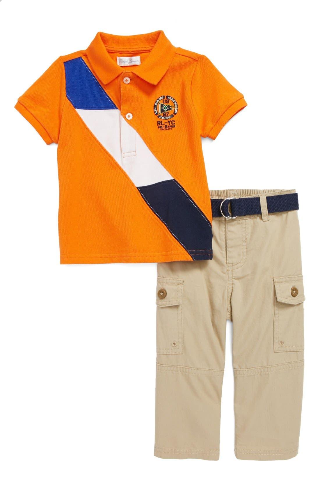 Alternate Image 1 Selected - Ralph Lauren Polo & Woven Pants (Baby Boys)