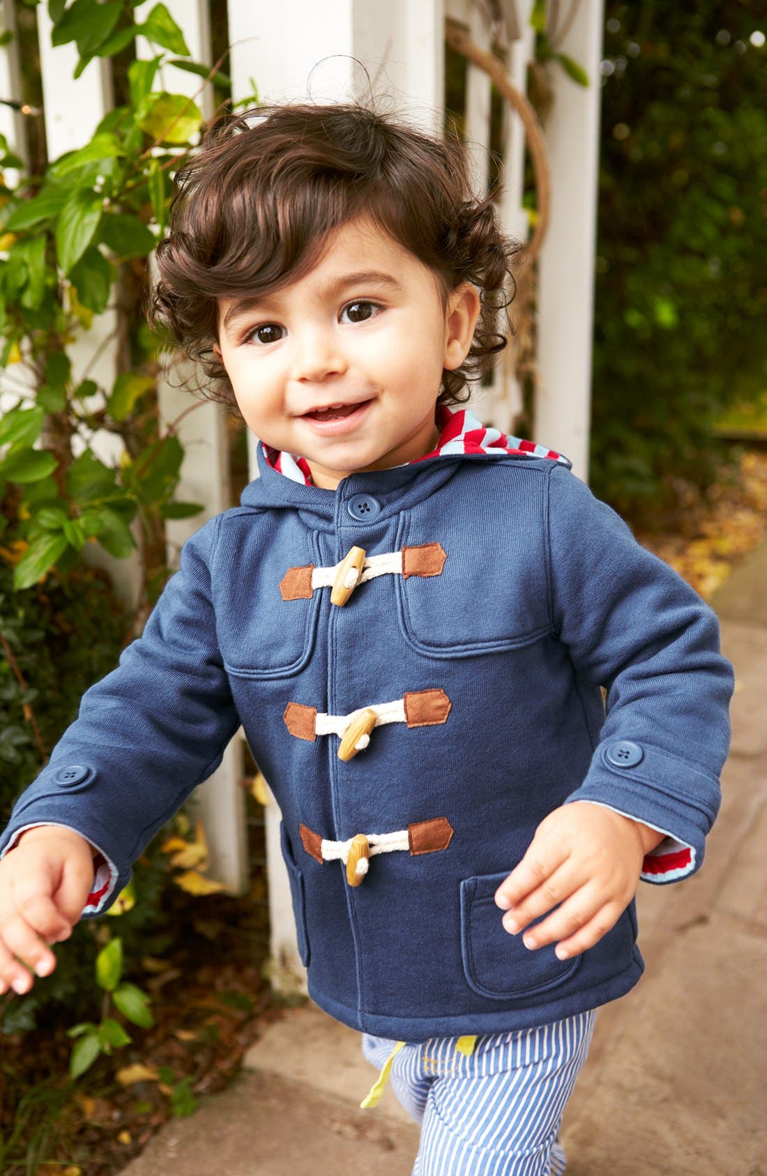 Alternate Image 2  - Mini Boden Cotton Jersey Duffle Jacket (Baby Boys)