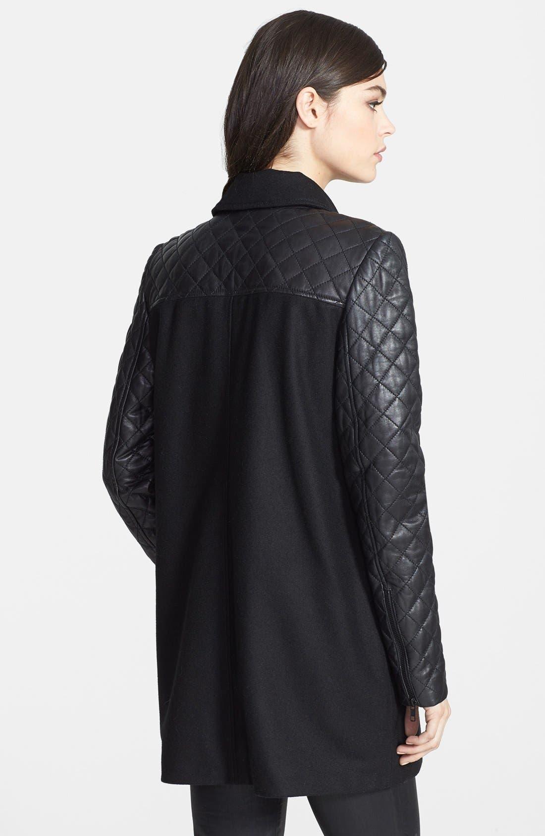 Alternate Image 2  - Trouvé Leather Sleeve Wool Jacket