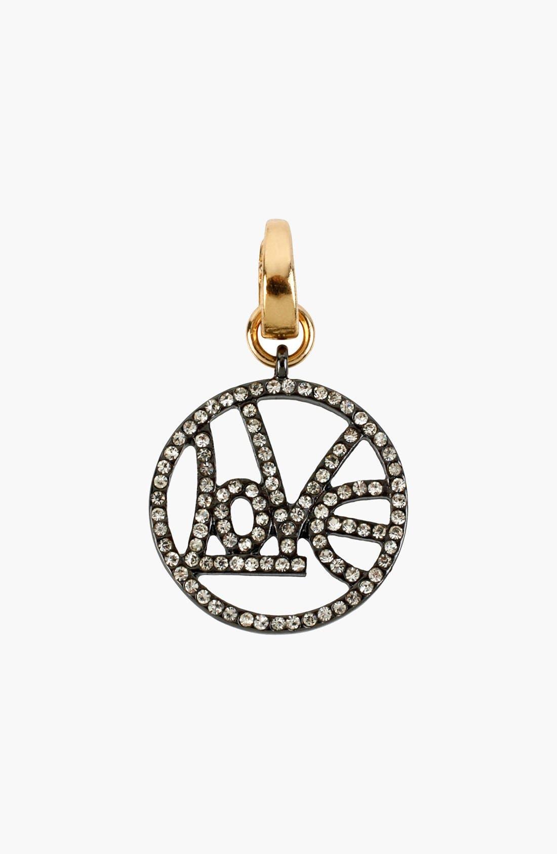 Alternate Image 4  - Betsey Johnson 'Vintage Bow - Love' Pavé Pendant Necklace