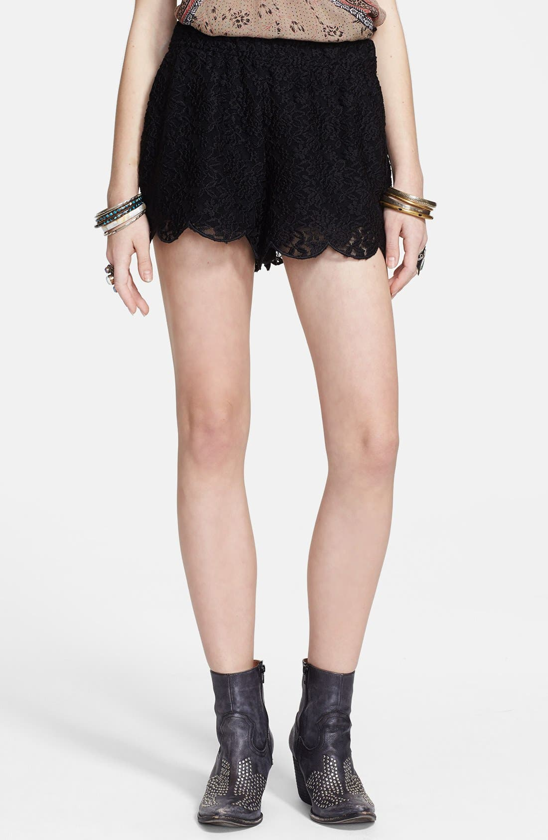 Alternate Image 1 Selected - Free People Scalloped Lace Shorts