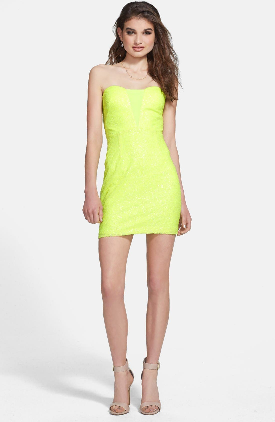 Main Image - Hailey Logan Back Cutout Sequin Body-Con Dress (Juniors)