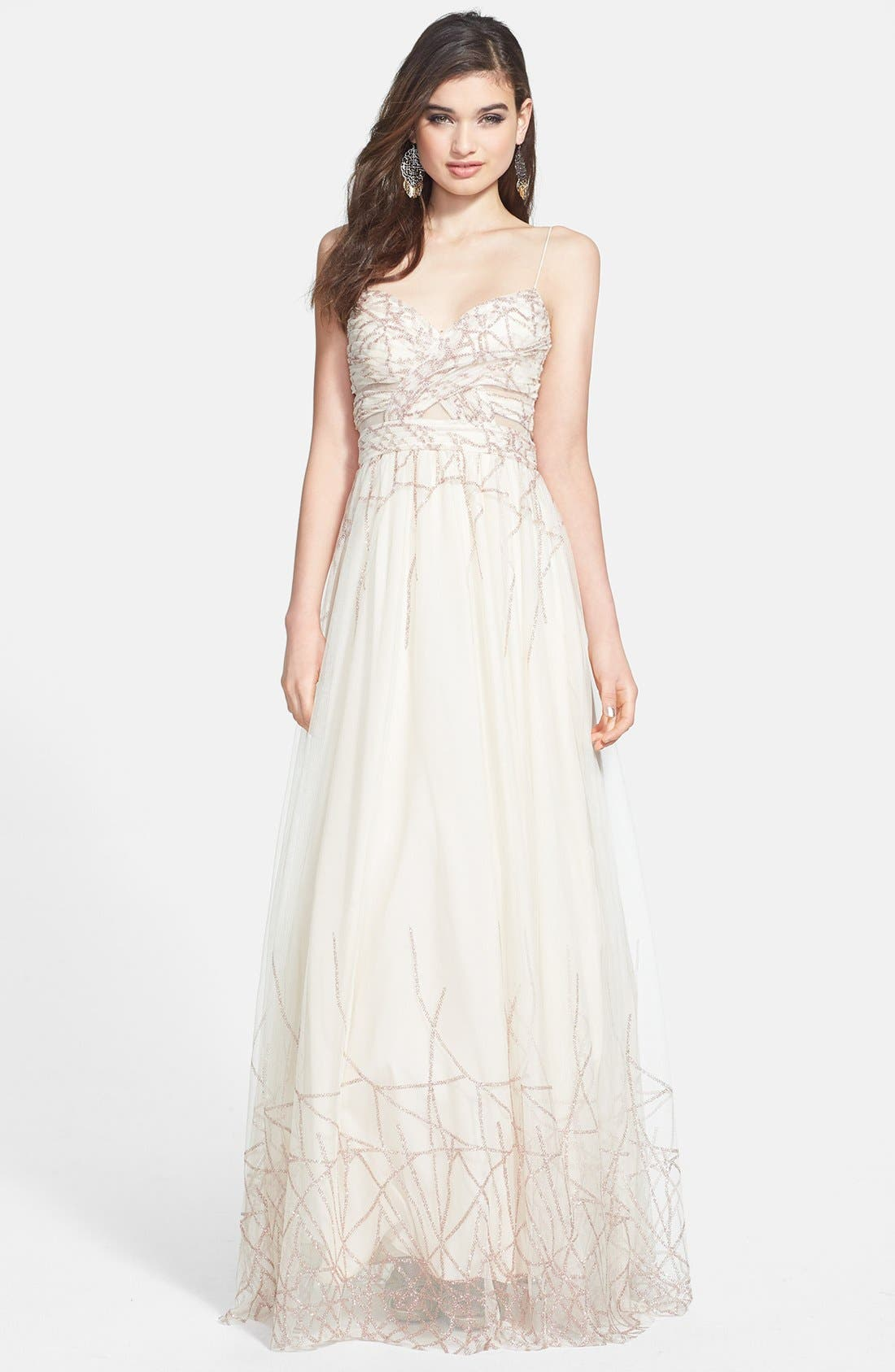 Alternate Image 1 Selected - Hailey Logan Cutout Glitter Mesh Ballgown (Juniors)