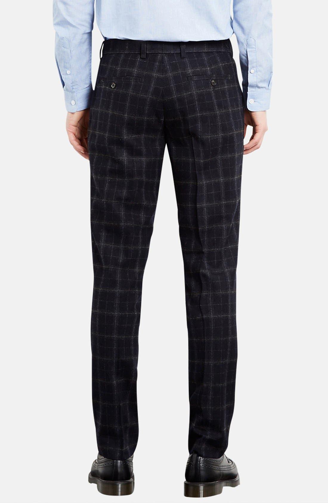 Alternate Image 2  - Topman Skinny Fit Check Wool Blend Trousers