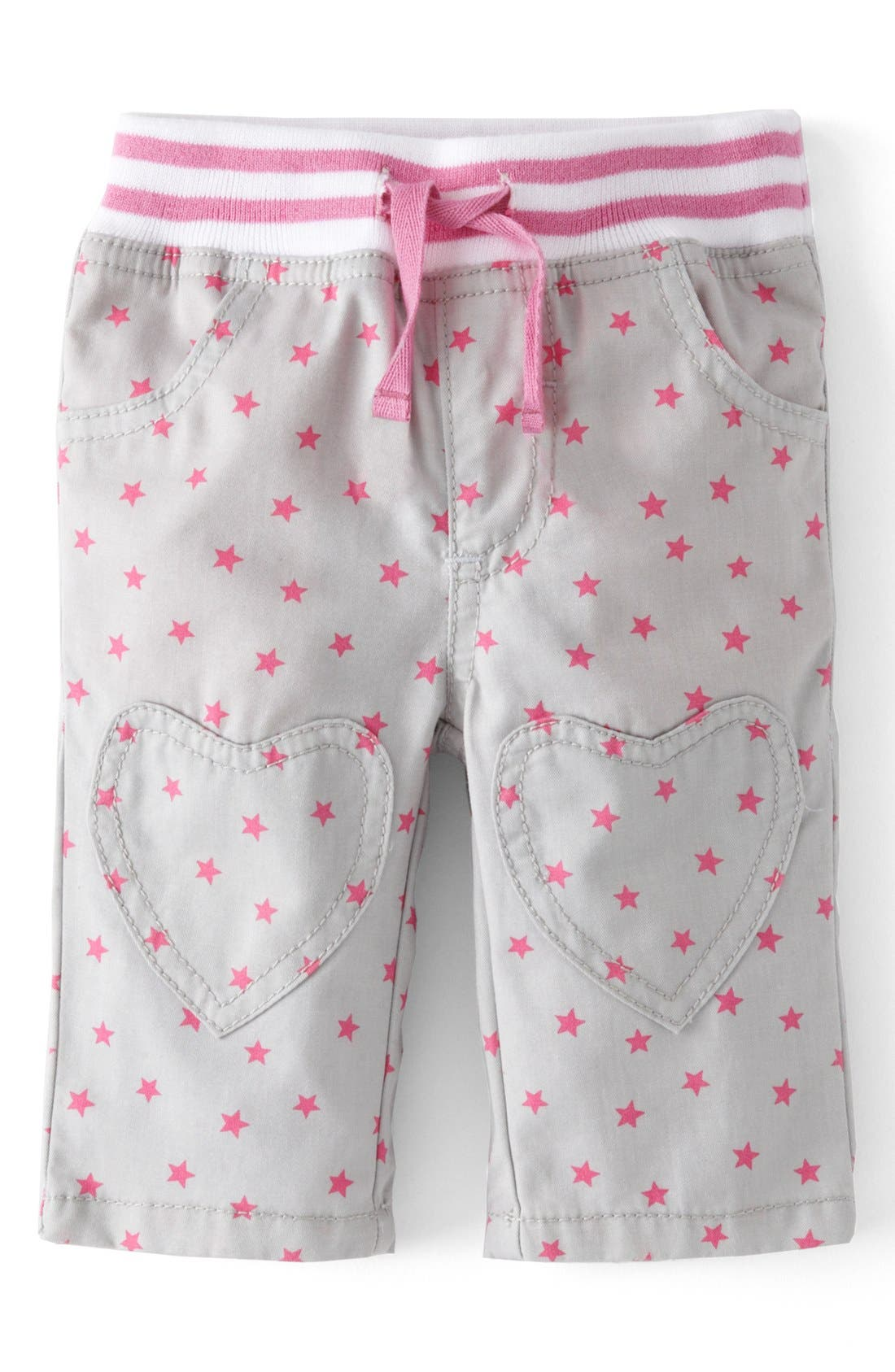 Main Image - Mini Boden Heart Patch Pants (Baby Girls)
