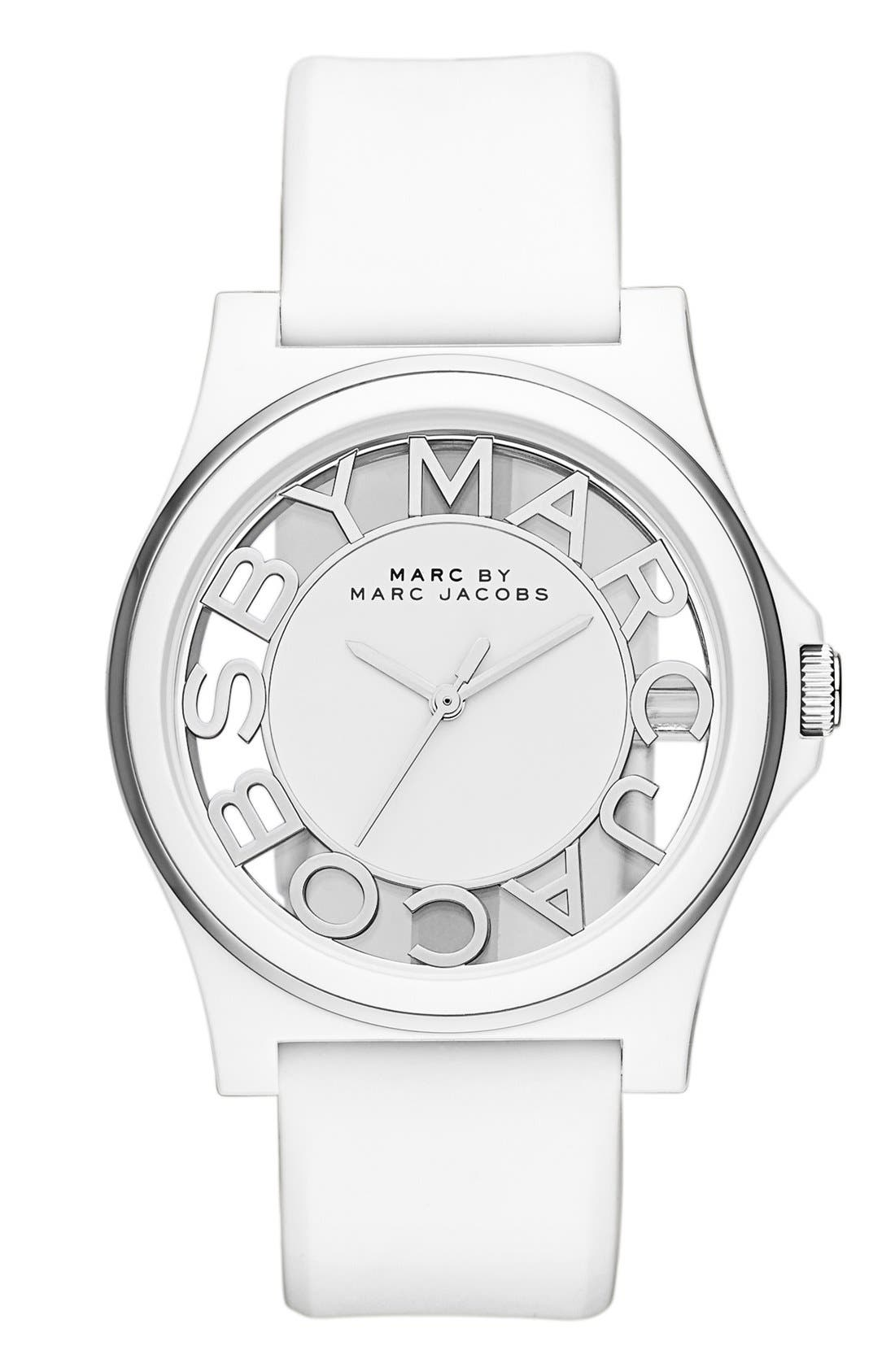 Main Image - MARC JACOBS 'Henry Skeleton' Silicone Strap Watch, 41mm