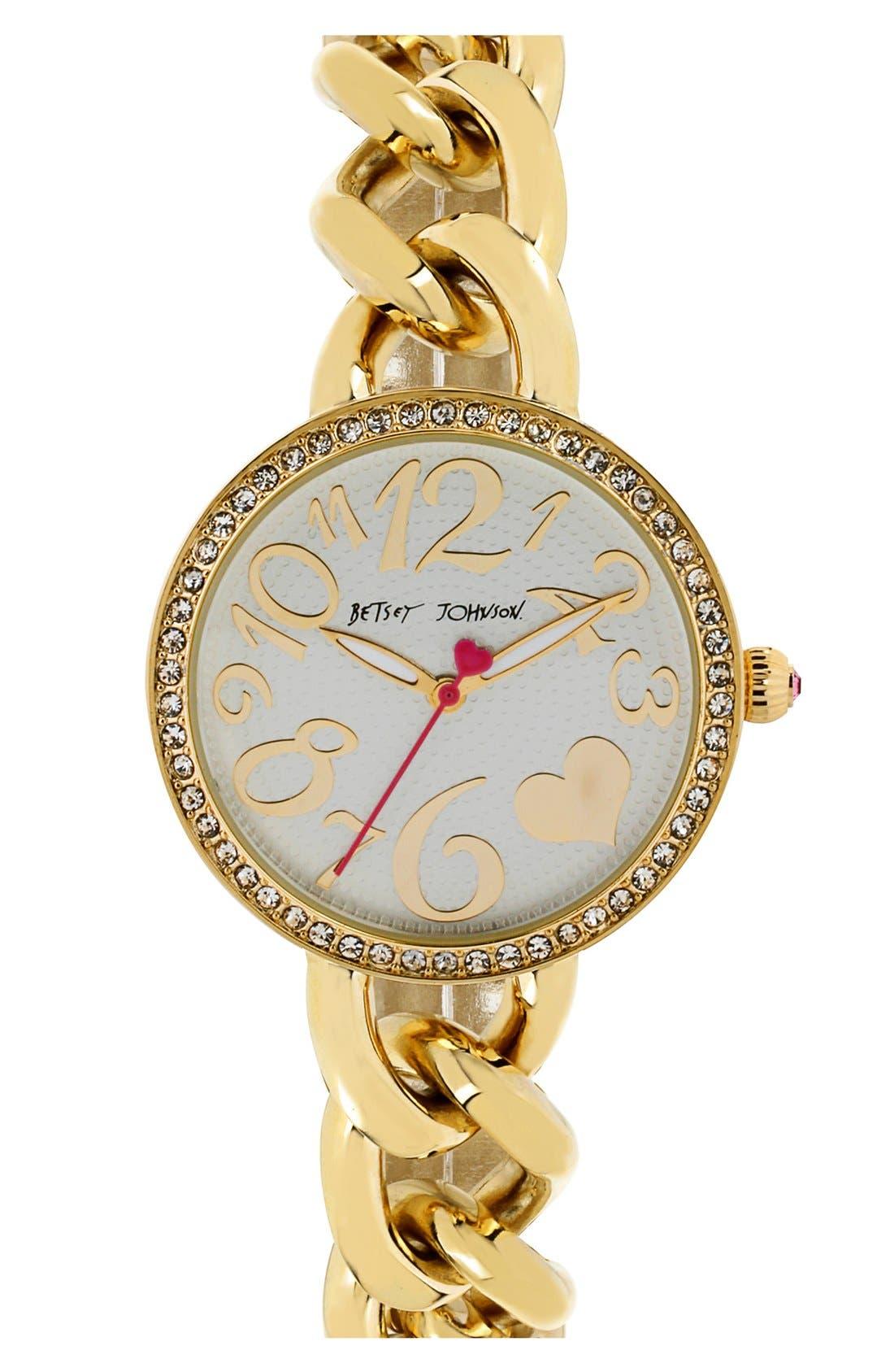 Alternate Image 1 Selected - Betsey Johnson Crystal Bezel Chain Link Bracelet Watch, 34mm
