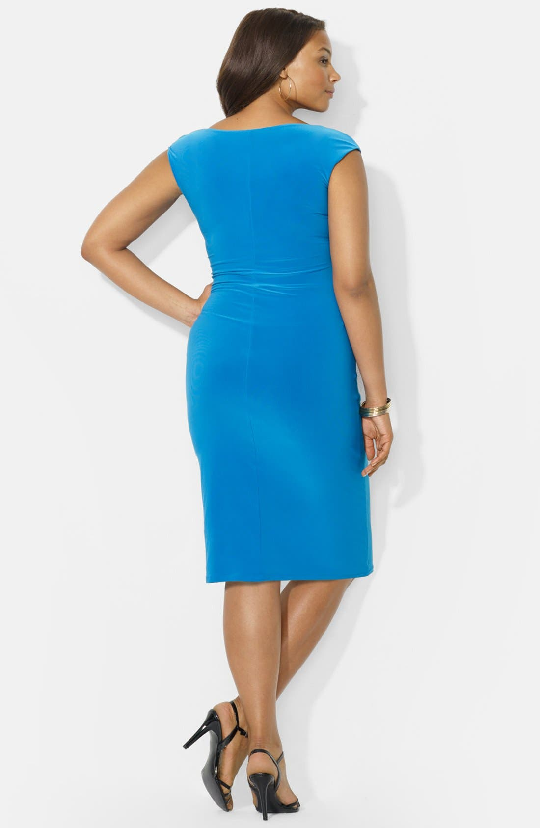 Alternate Image 2  - Lauren Ralph Lauren Cowl Neck Jersey Dress (Plus Size)
