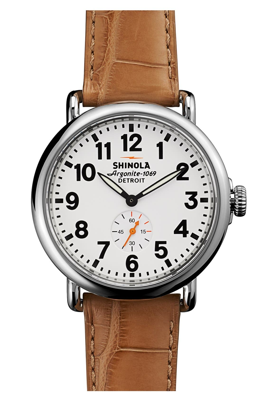 Main Image - Shinola 'The Runwell' Alligator Strap Watch, 41mm