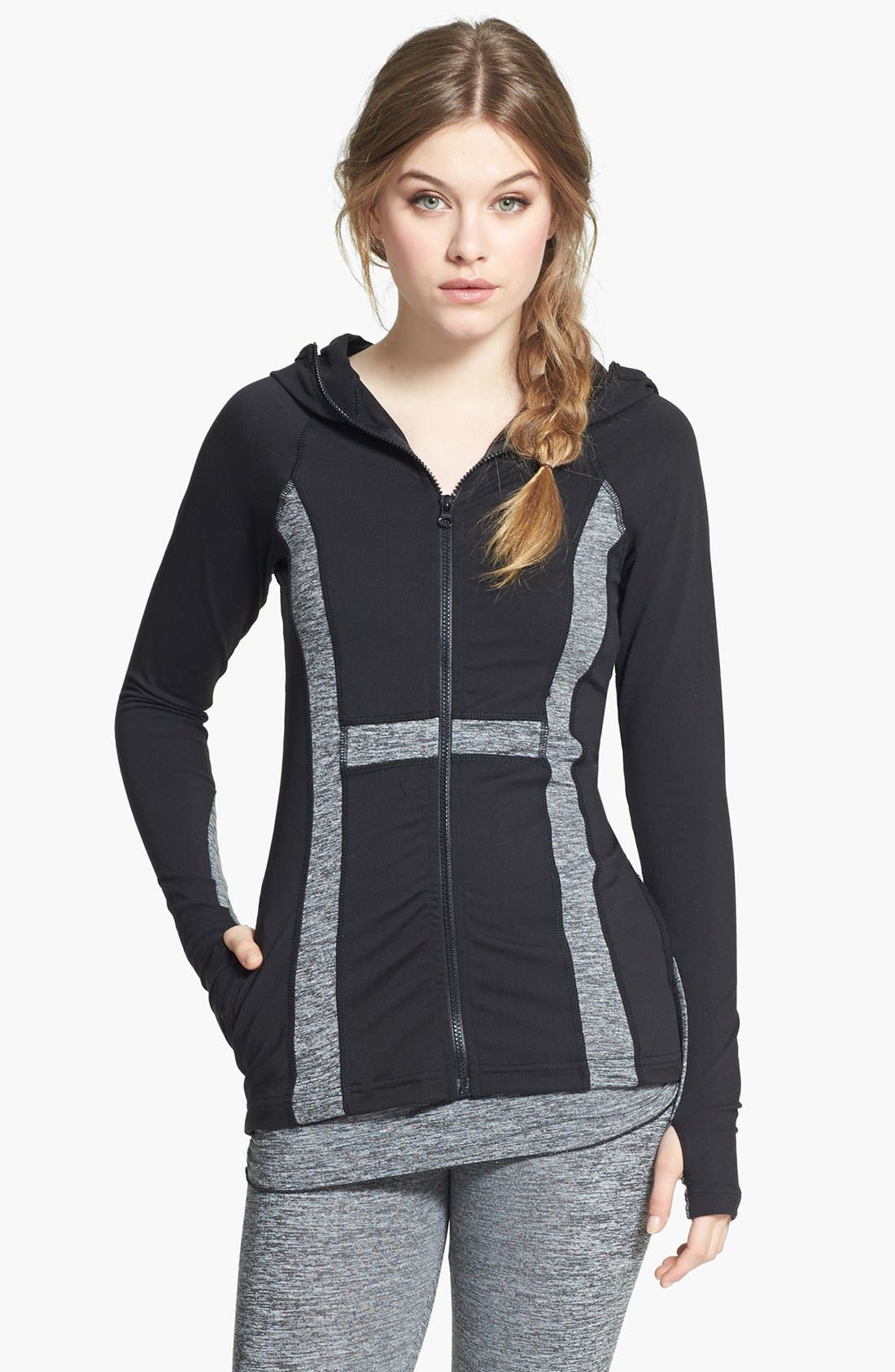Main Image - Hard Tail Contrast Panel Front Zip Hoodie
