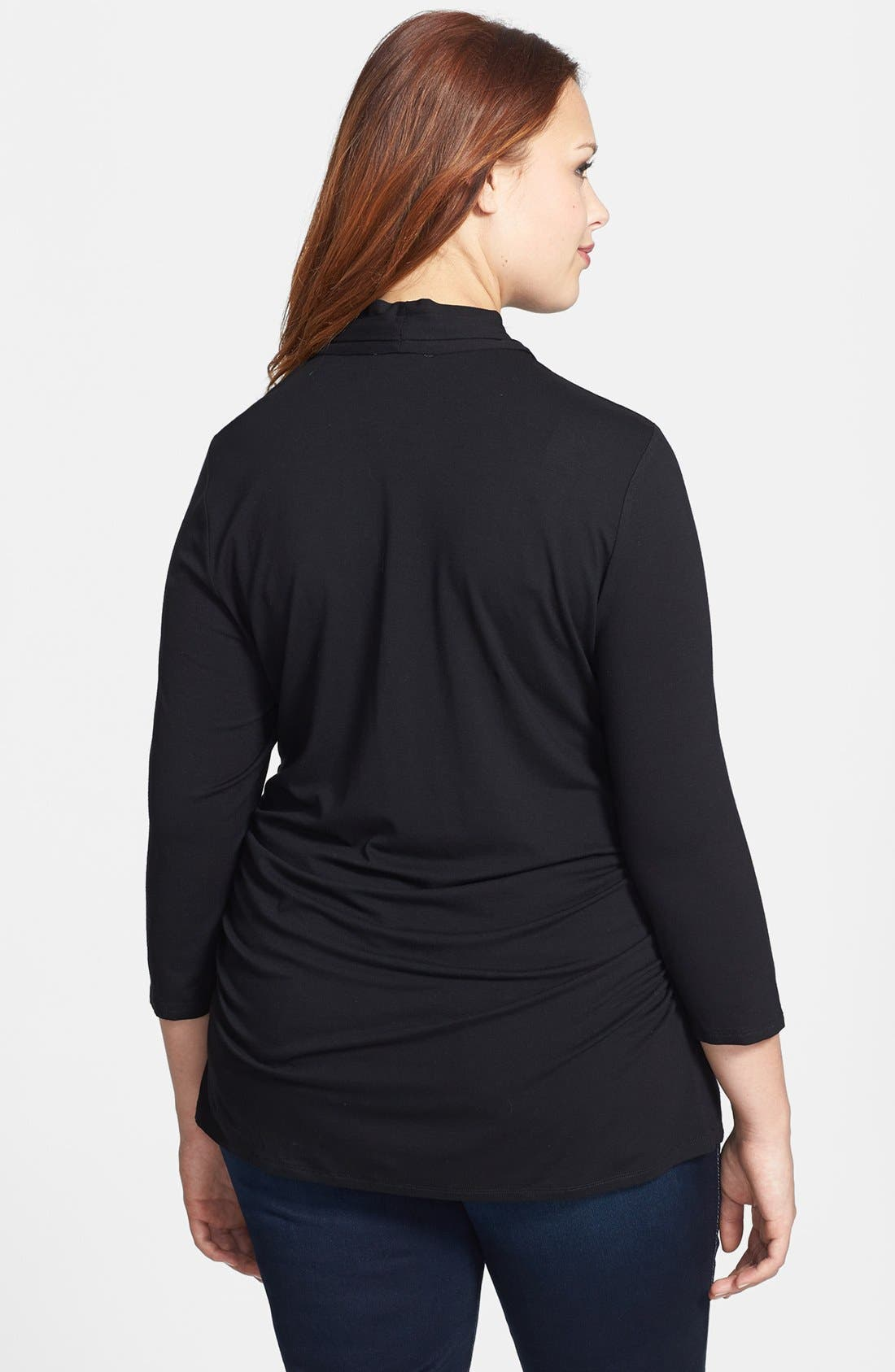 Alternate Image 2  - Vince Camuto Pleated V-Neck Top (Plus Size)