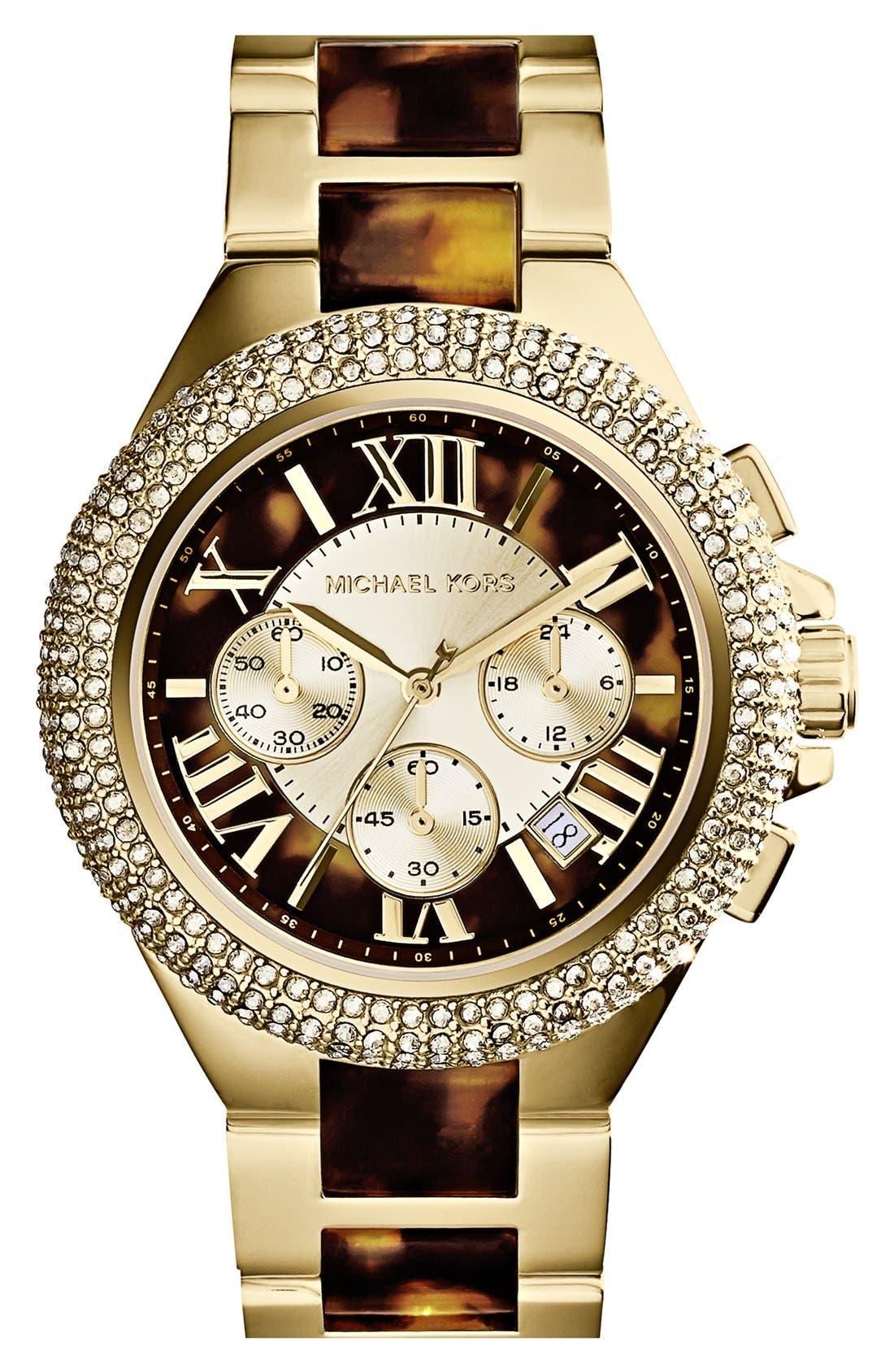 Alternate Image 1 Selected - Michael Kors 'Camille' Crystal Bezel Chronograph Bracelet Watch, 43mm