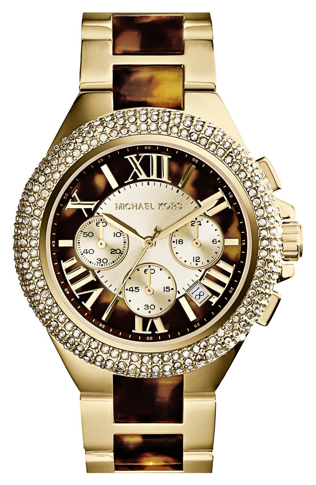 Main Image - Michael Kors 'Camille' Crystal Bezel Chronograph Bracelet Watch, 43mm