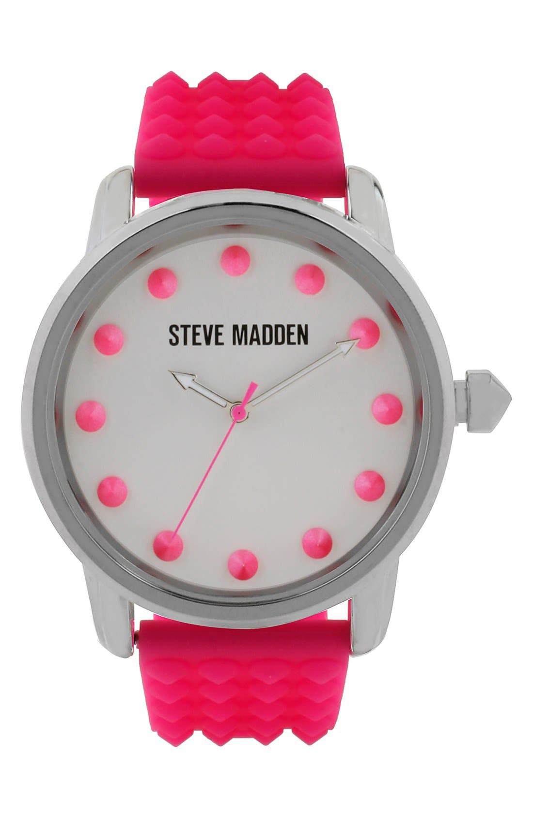 Main Image - Steve Madden Studded Silicone Strap Watch, 44mm