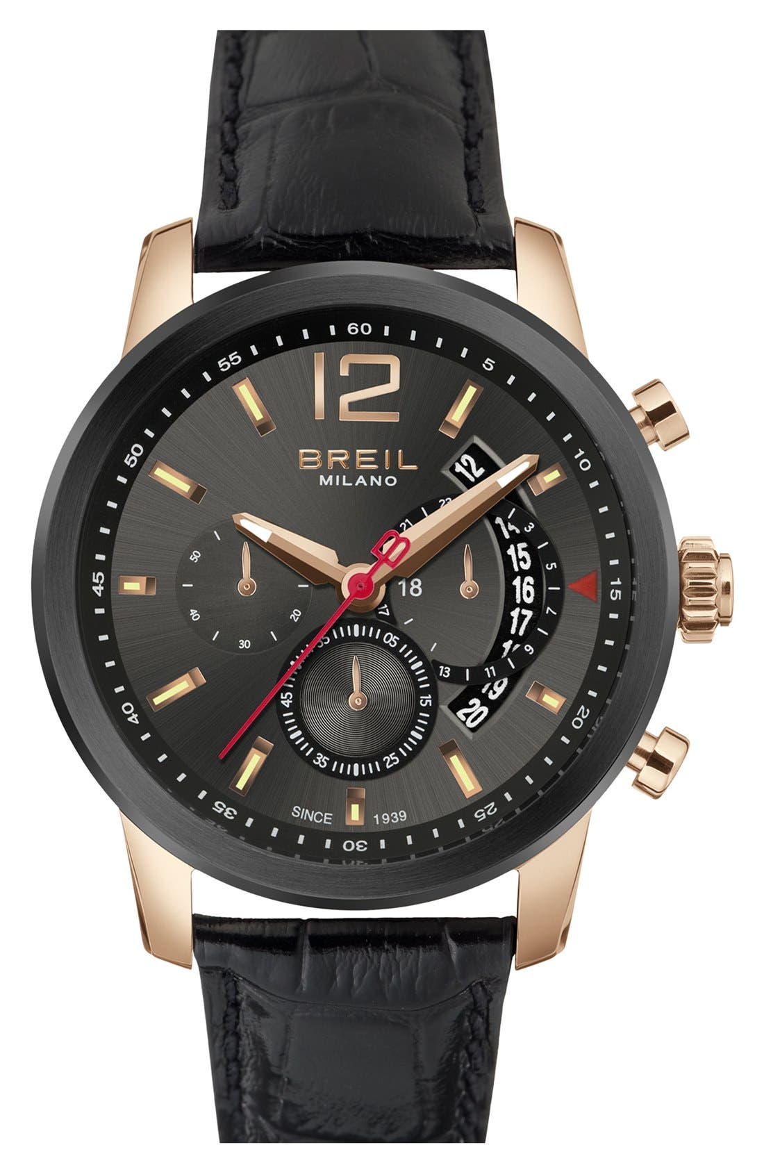 Alternate Image 1 Selected - Breil 'Miglia' Chronograph Leather Strap Watch, 44mm