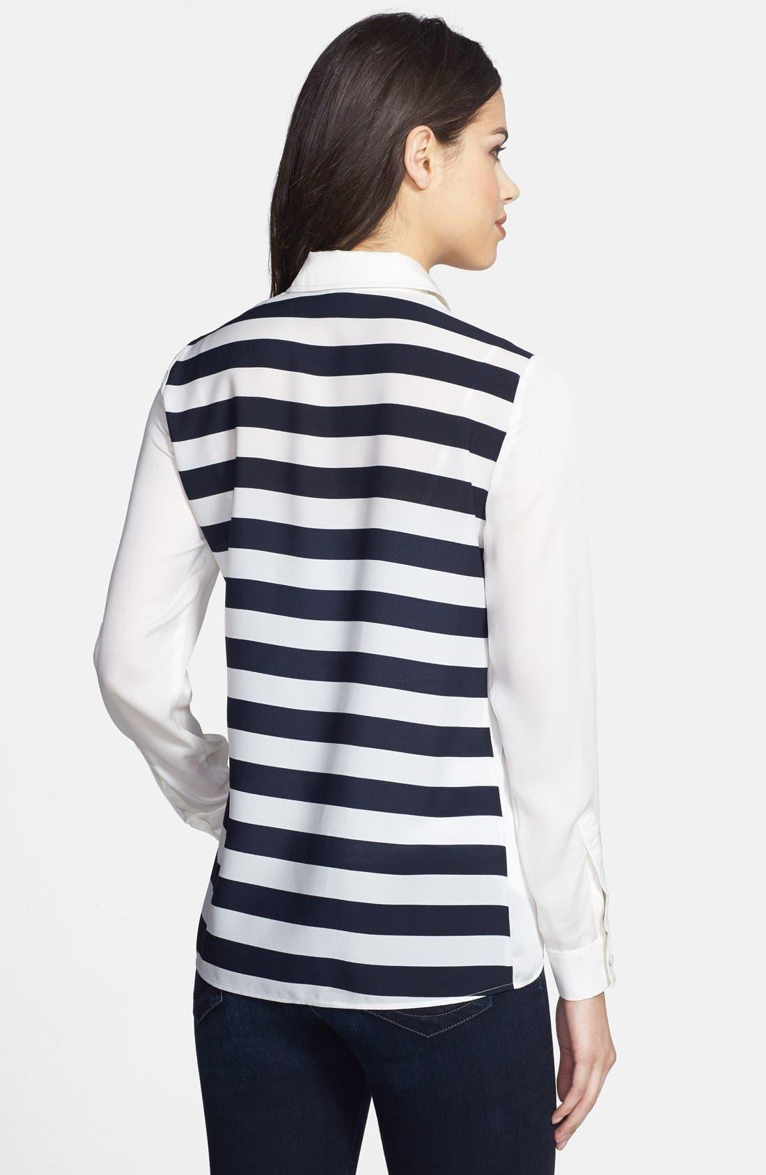 Alternate Image 2  - Anne Klein Stripe Block Two-Pocket Shirt