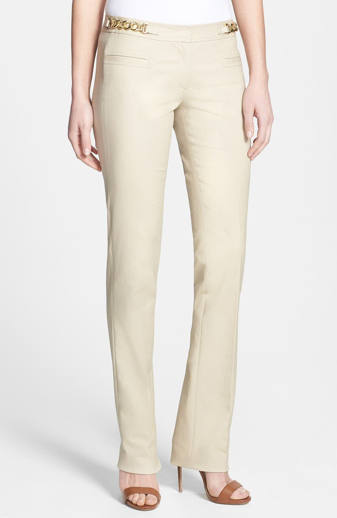 Alternate Image 1 Selected - MICHAEL Michael Kors 'Sexy' Hardware Detail Stretch Cotton Pants