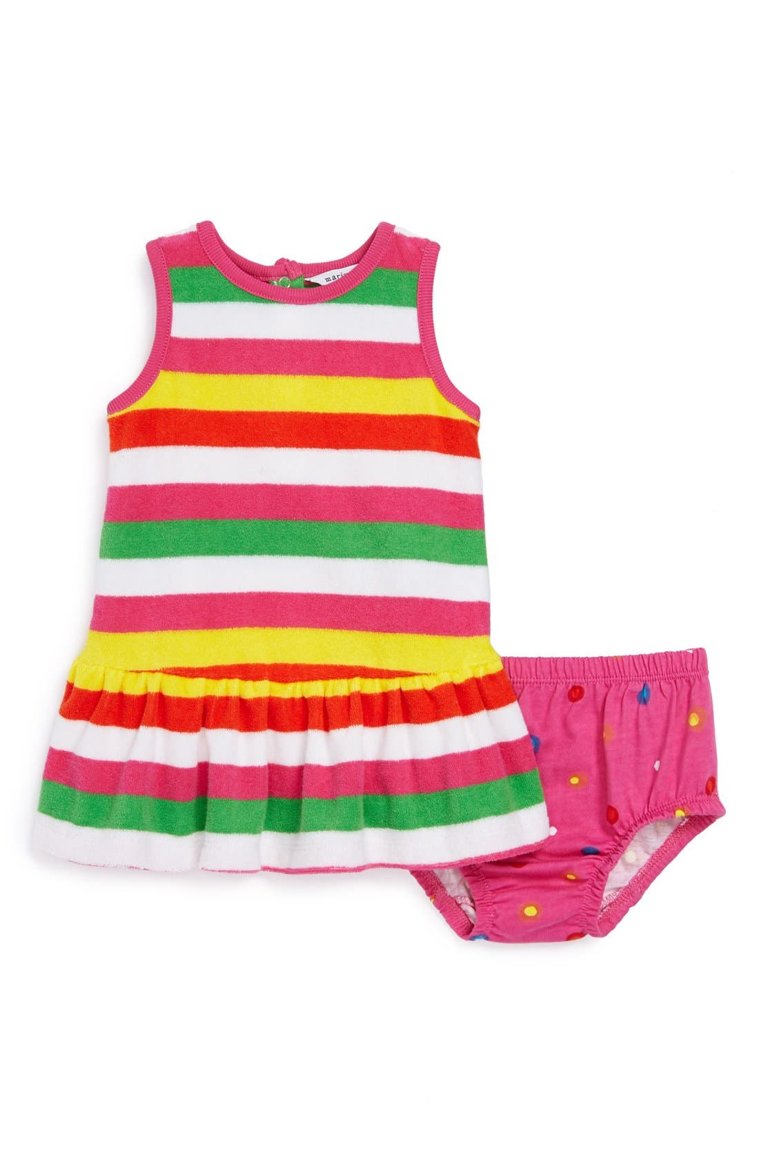 Alternate Image 1 Selected - Marimekko Terry Cloth Dress & Bloomers (Baby Girls)