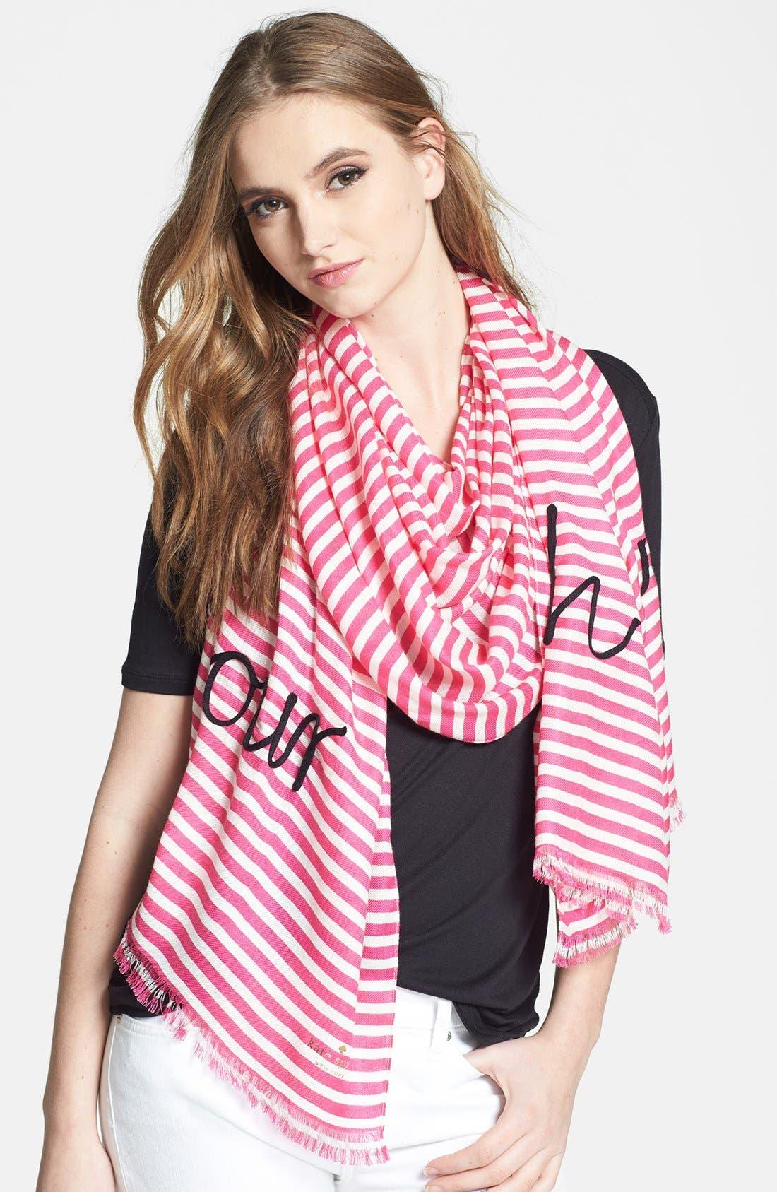 Main Image - kate spade new york 'ooh la la' embroidered scarf