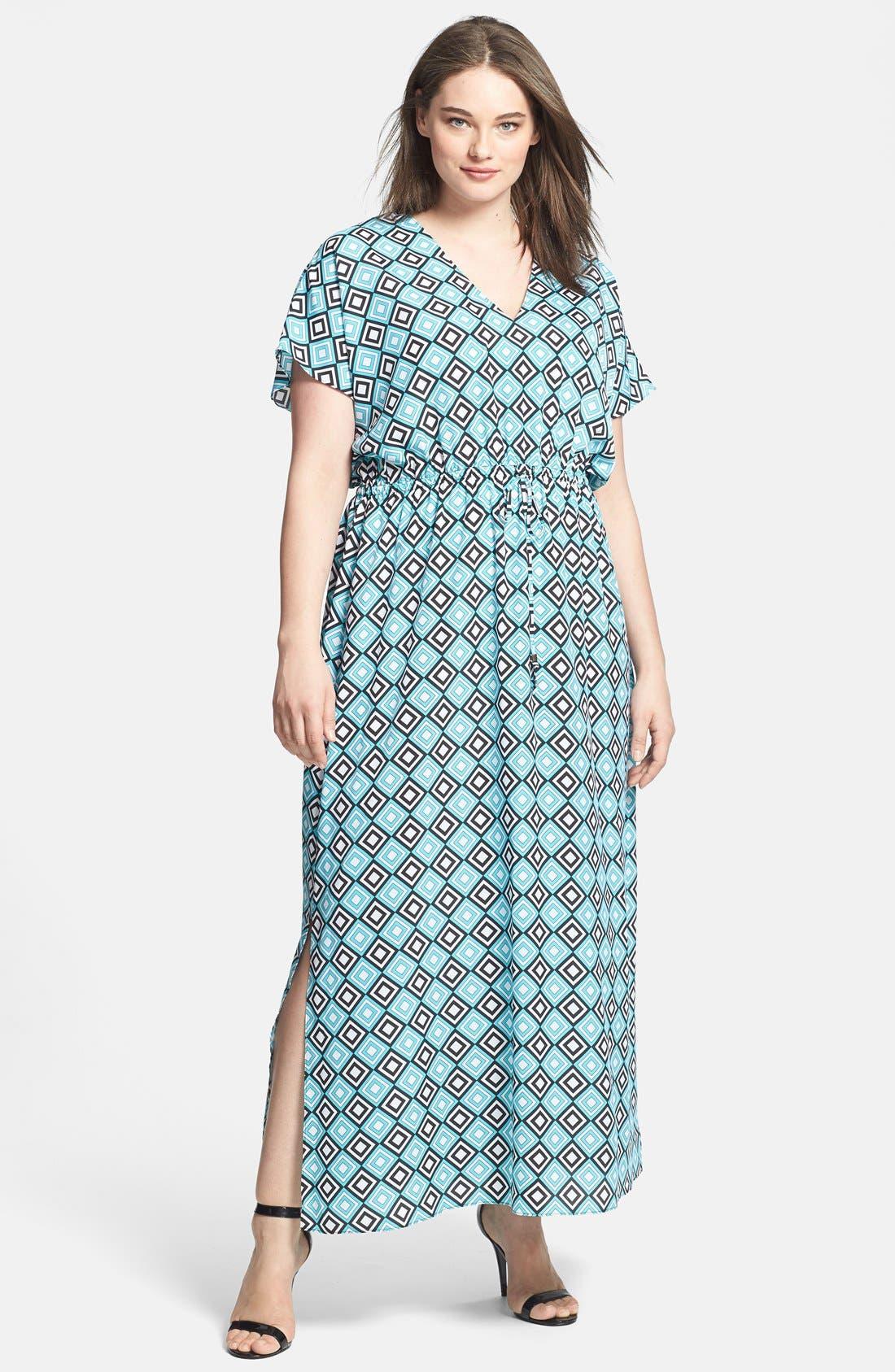 Main Image - MICHAEL Michael Kors Diamond Print Maxi Dress (Plus Size)