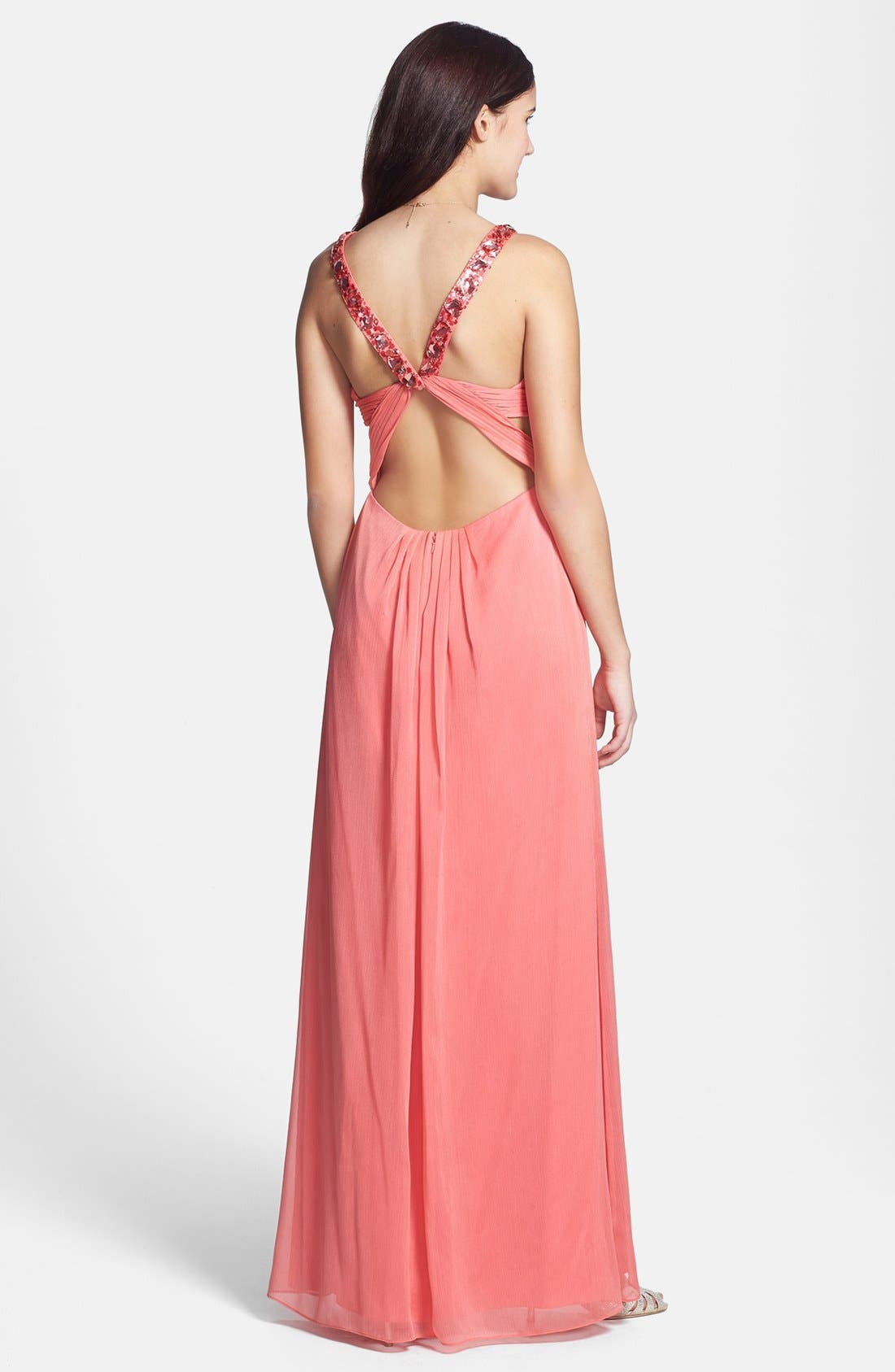 Alternate Image 2  - Aidan by Aidan Mattox Embellished Cutout Crinkled Chiffon Gown
