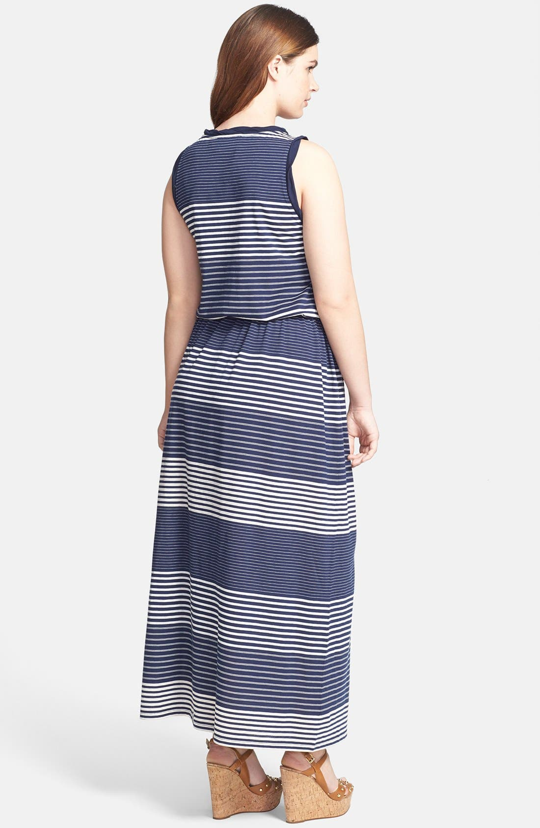 Alternate Image 2  - Two by Vince Camuto Engineered Stripe Sleeveless Maxi Dress (Plus Size)