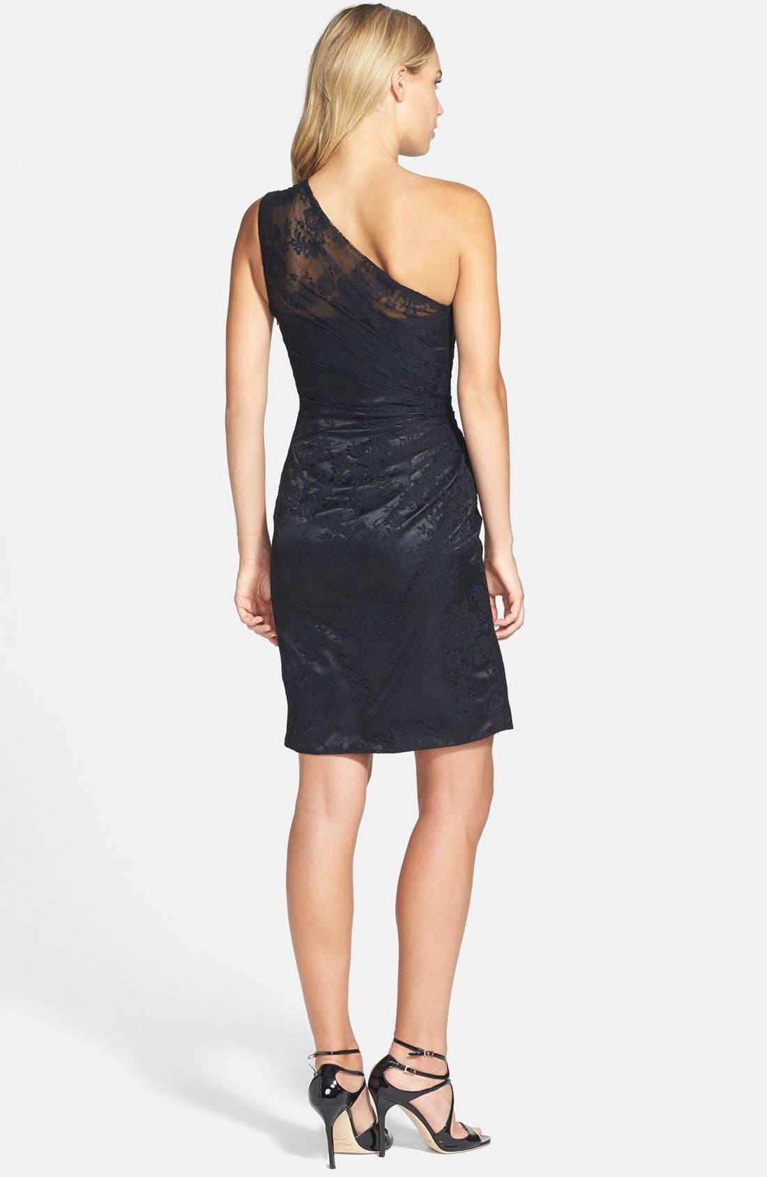 Alternate Image 2  - ML Monique Lhuillier Bridesmaids Pleated One-Shoulder Lace Dress