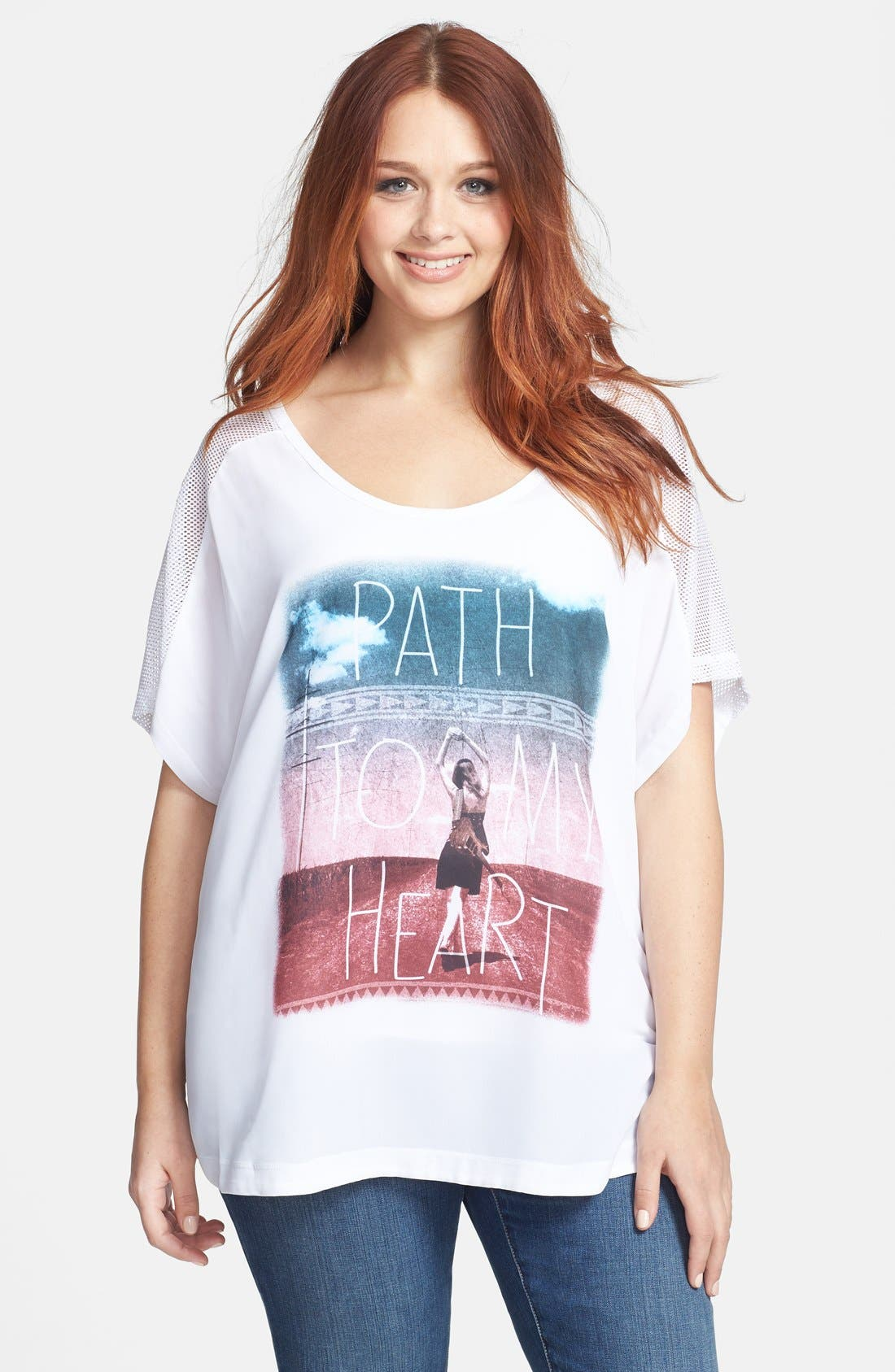 Alternate Image 1 Selected - Jessica Simpson 'Kelsey Hatchi' Graphic Tee (Plus Size)