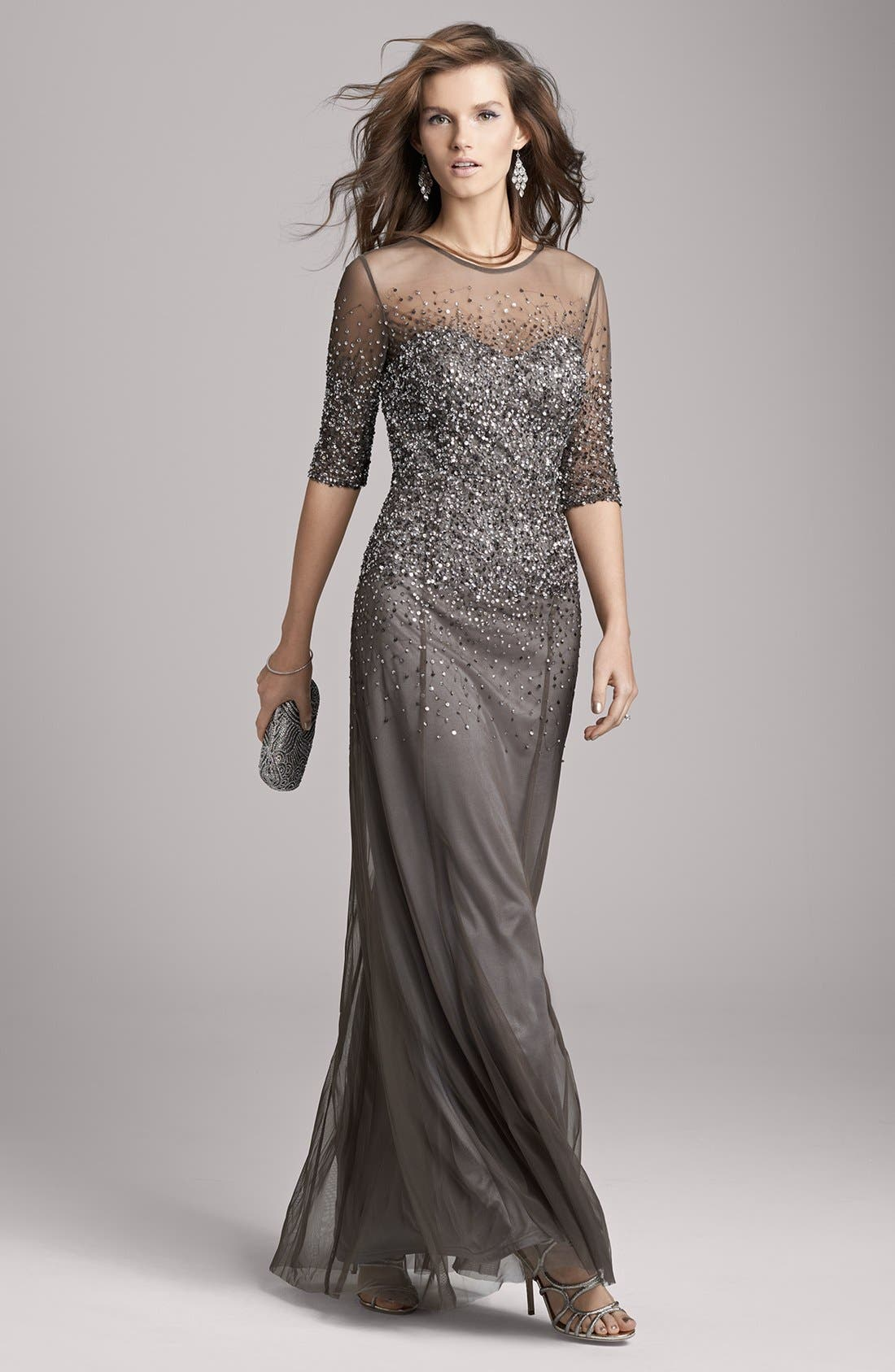 Alternate Image 4  - Adrianna Papell Beaded Illusion Bodice Mesh Gown