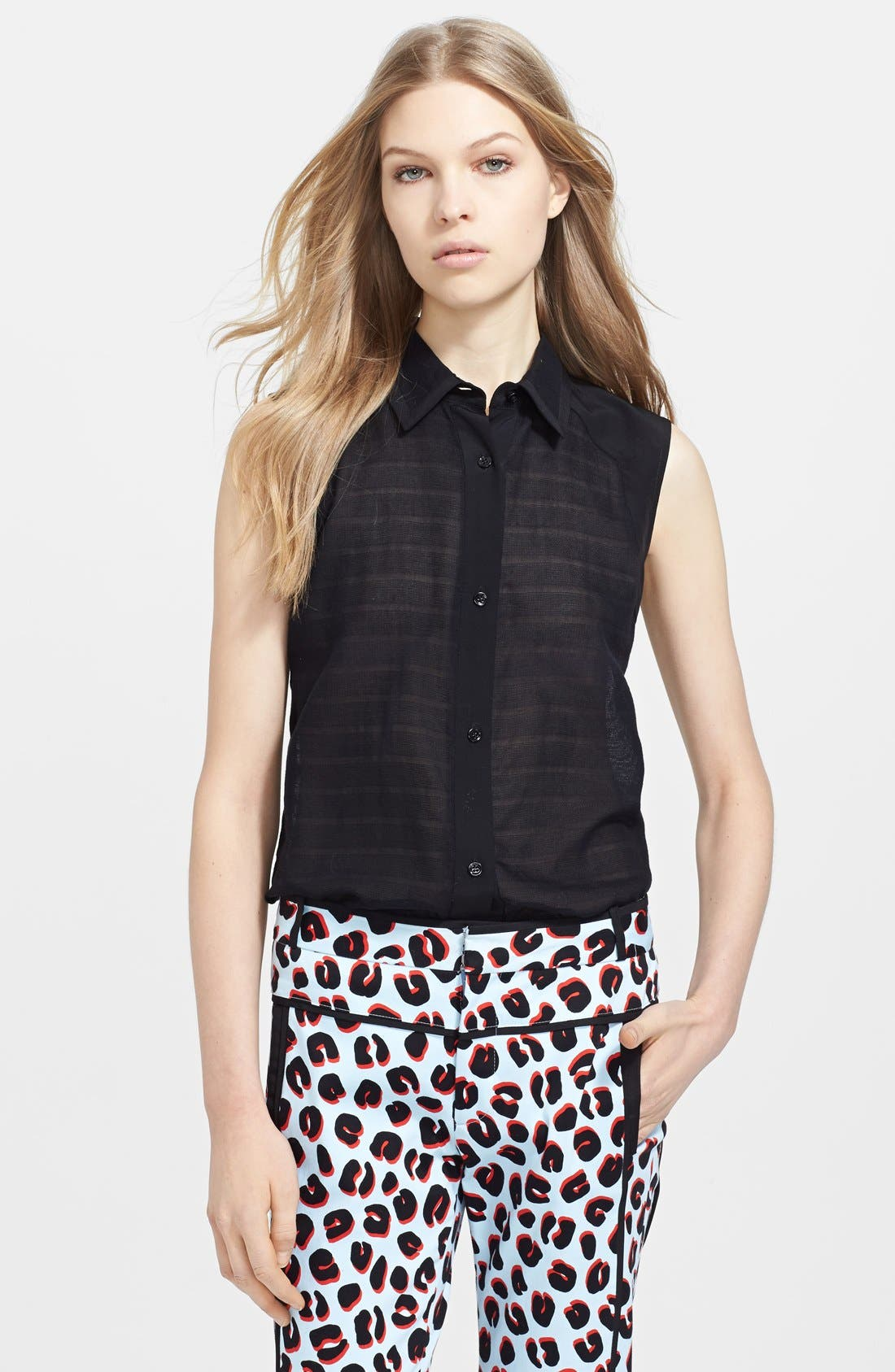 Alternate Image 1 Selected - Veronica Beard Sleeveless Cotton Voile Shirt