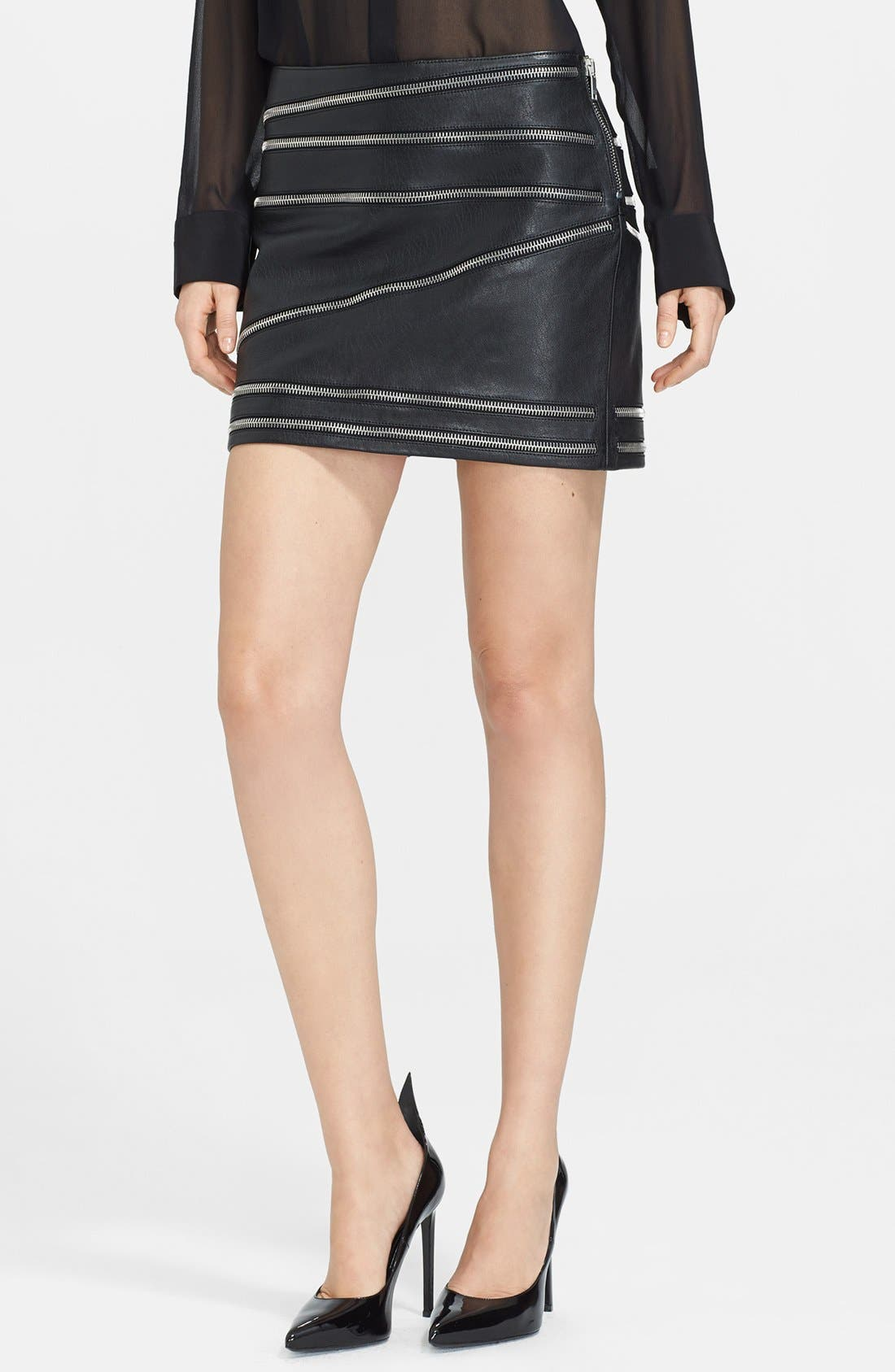 Main Image - Saint Laurent Leather Miniskirt