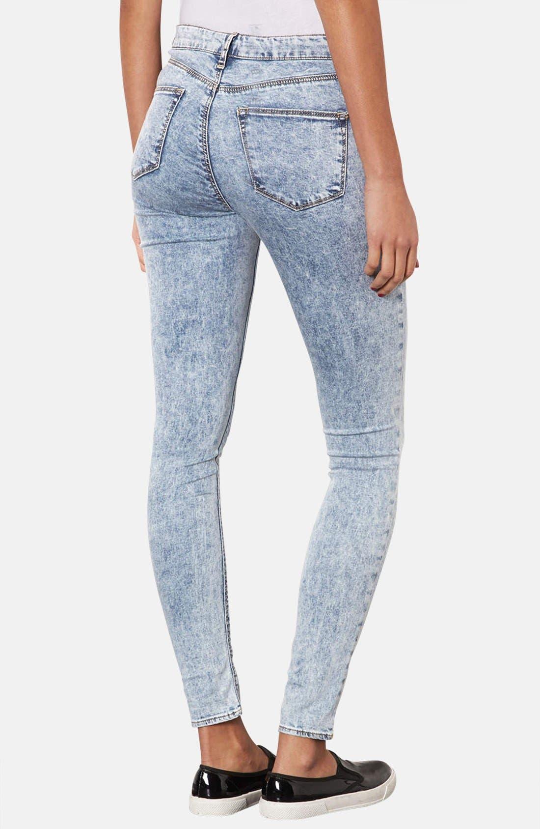 Alternate Image 2  - Topshop Moto 'Leigh' Acid Wash Skinny Jeans (Mid Stone) (Regular & Short)