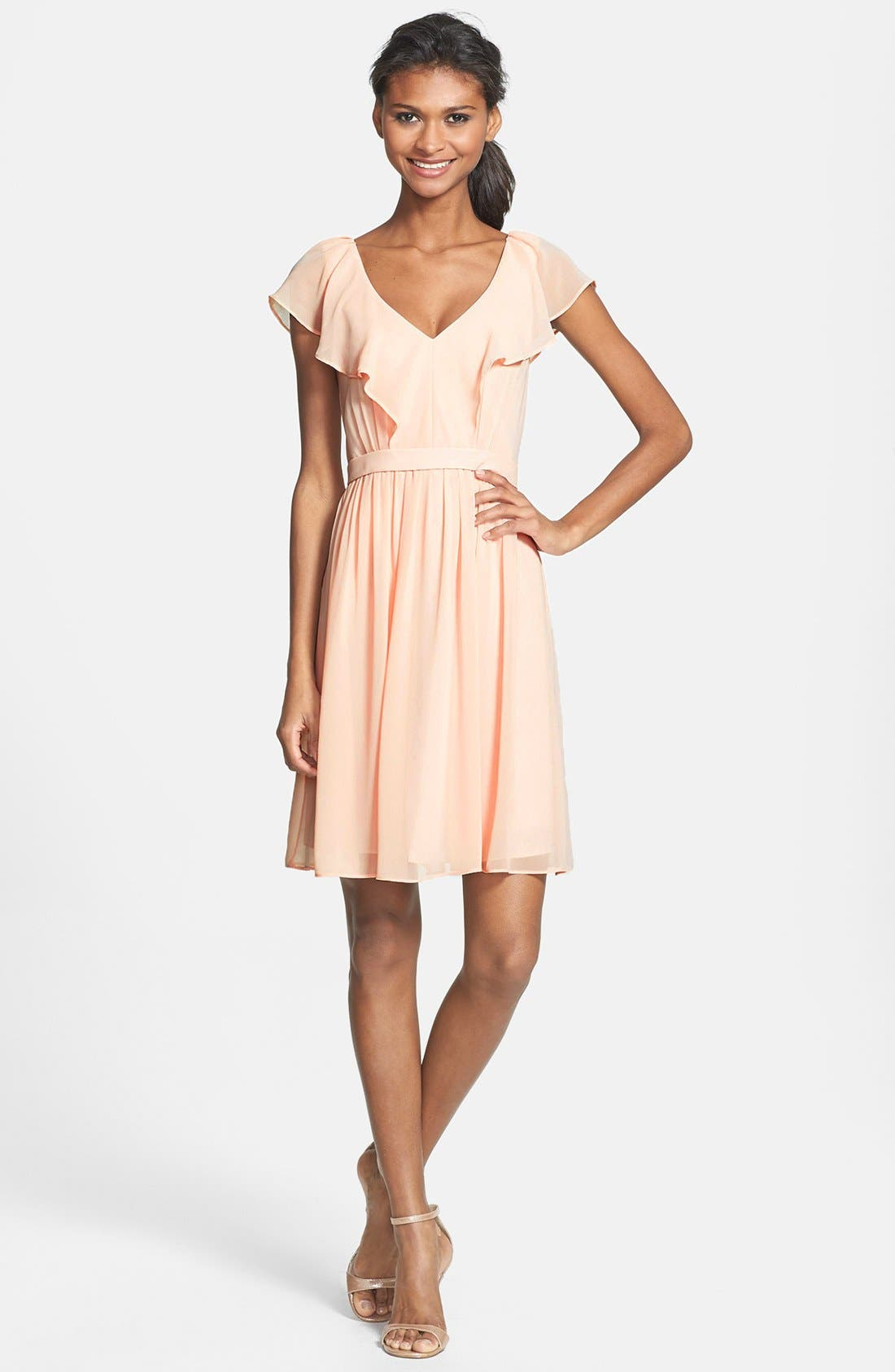 Main Image - Jenny Yoo 'Isabel' Ruffled Chiffon Fit & Flare Dress