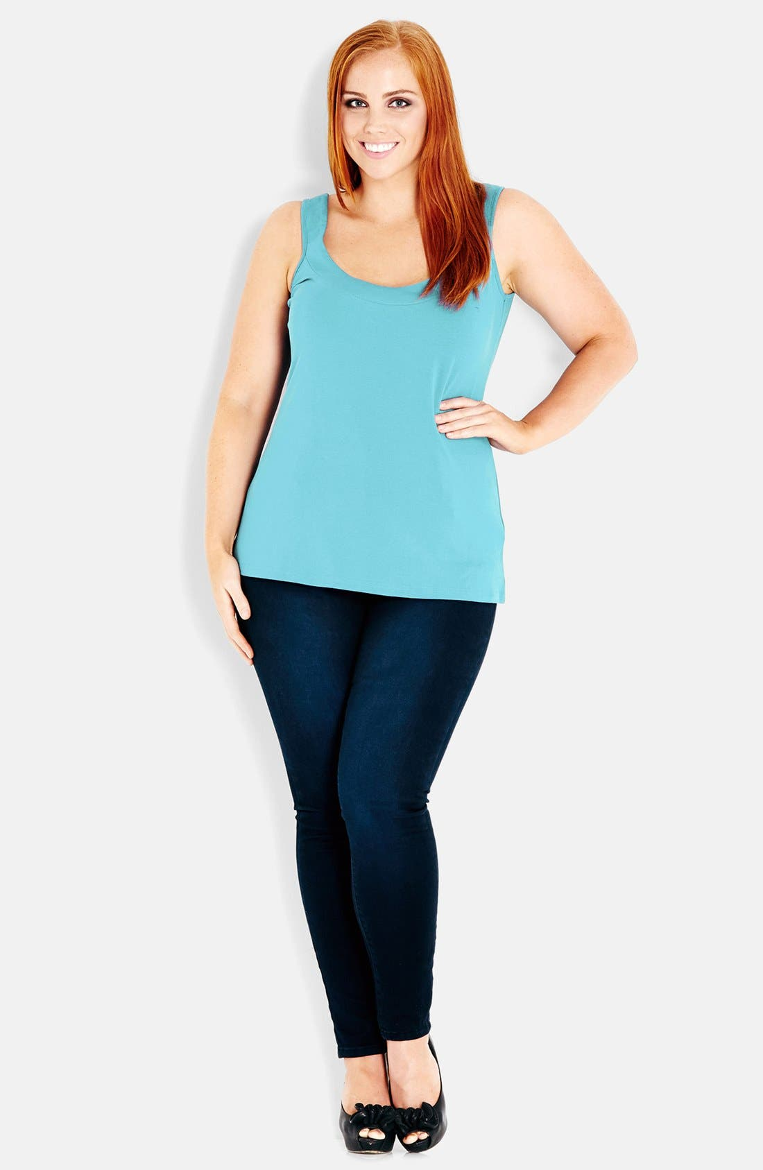 Alternate Image 1 Selected - City Chic Stretch Cotton Camisole (Plus Size)