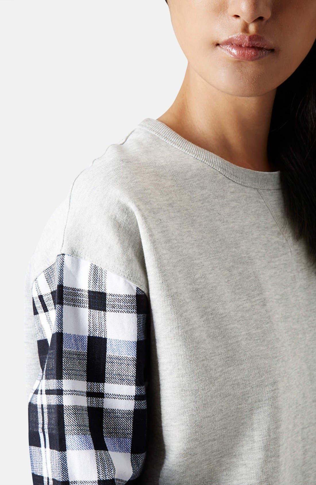 Alternate Image 4  - Topshop Check Sleeve Sweatshirt