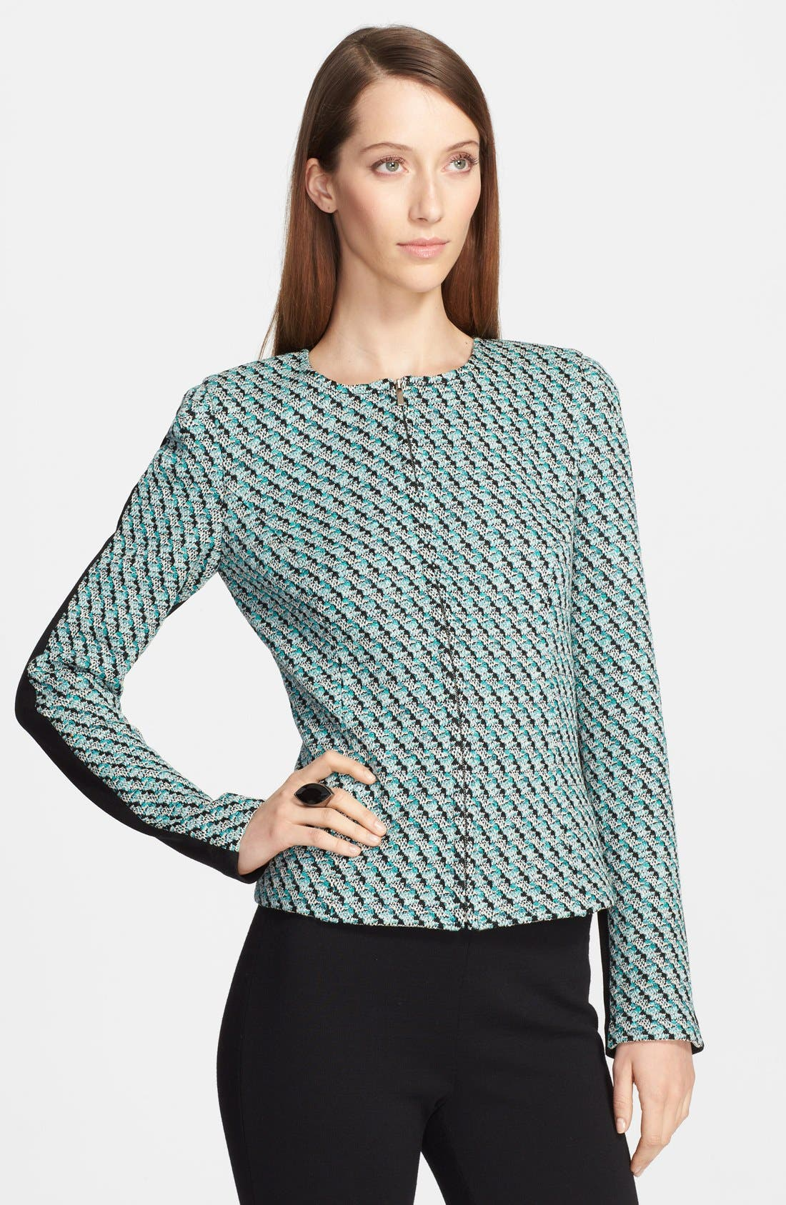 Alternate Image 1 Selected - St. John Collection Broken Houndstooth Tweed & Milano Knit Zip Jacket