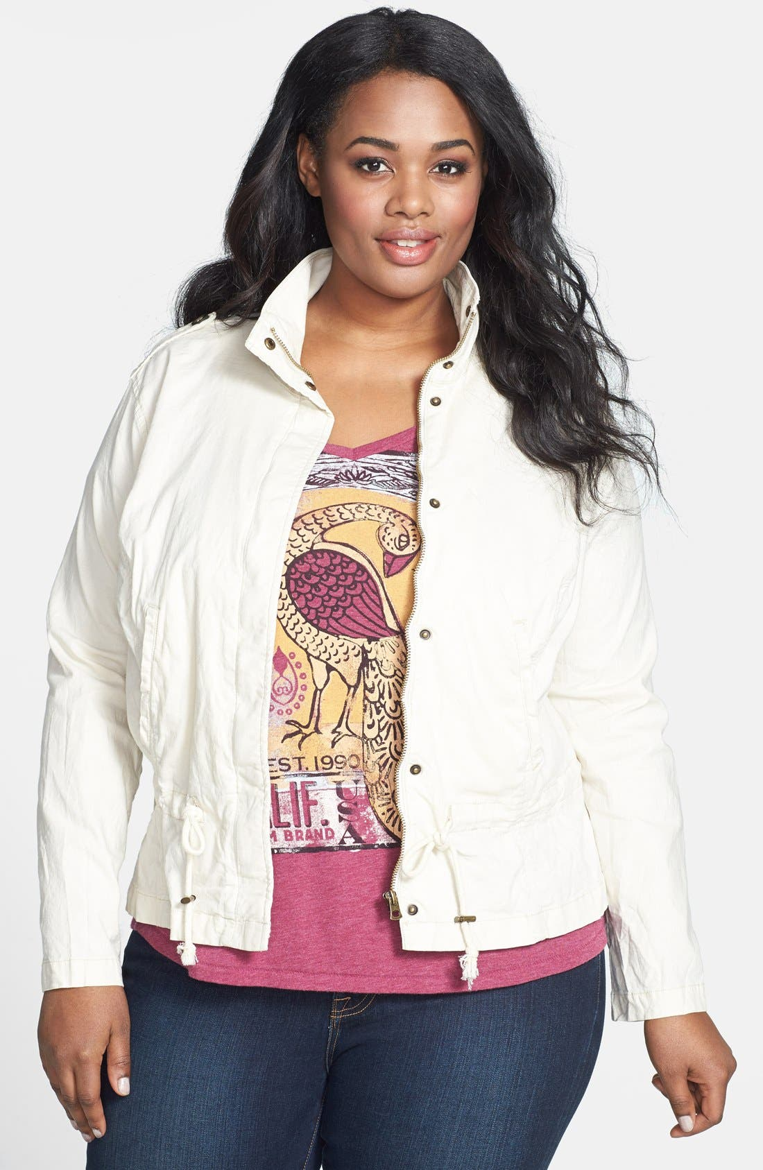 Alternate Image 1 Selected - Lucky Brand 'Dixon' Linen Blend Jacket (Plus Size)