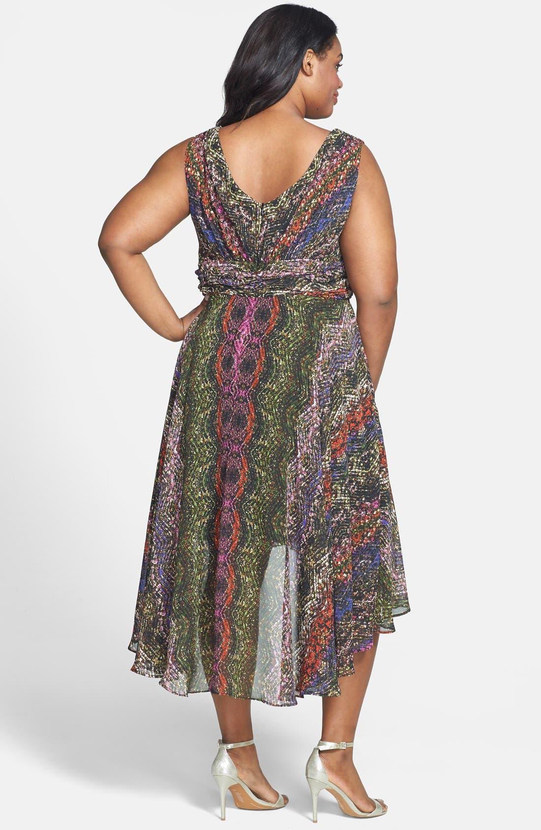 Alternate Image 2  - Ivy & Blu Print Sleeveless High/Low Dress (Plus Size)