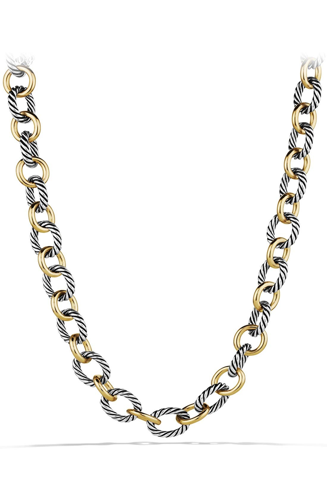 David Yurman 'Oval' Large Link Necklace with Gold